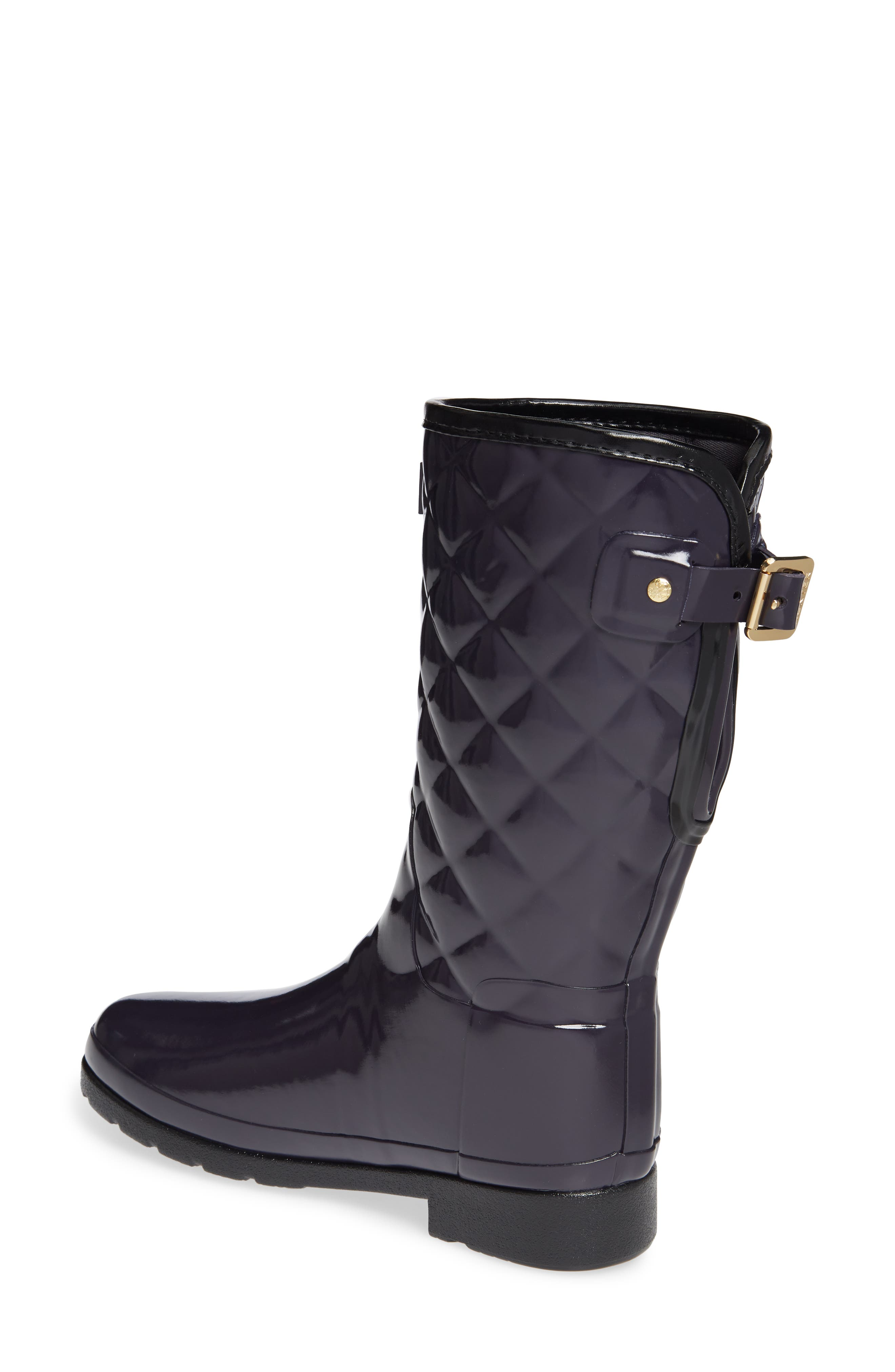Refined High Gloss Quilted Short Waterproof Rain Boot,                             Alternate thumbnail 2, color,                             AUBERGINE