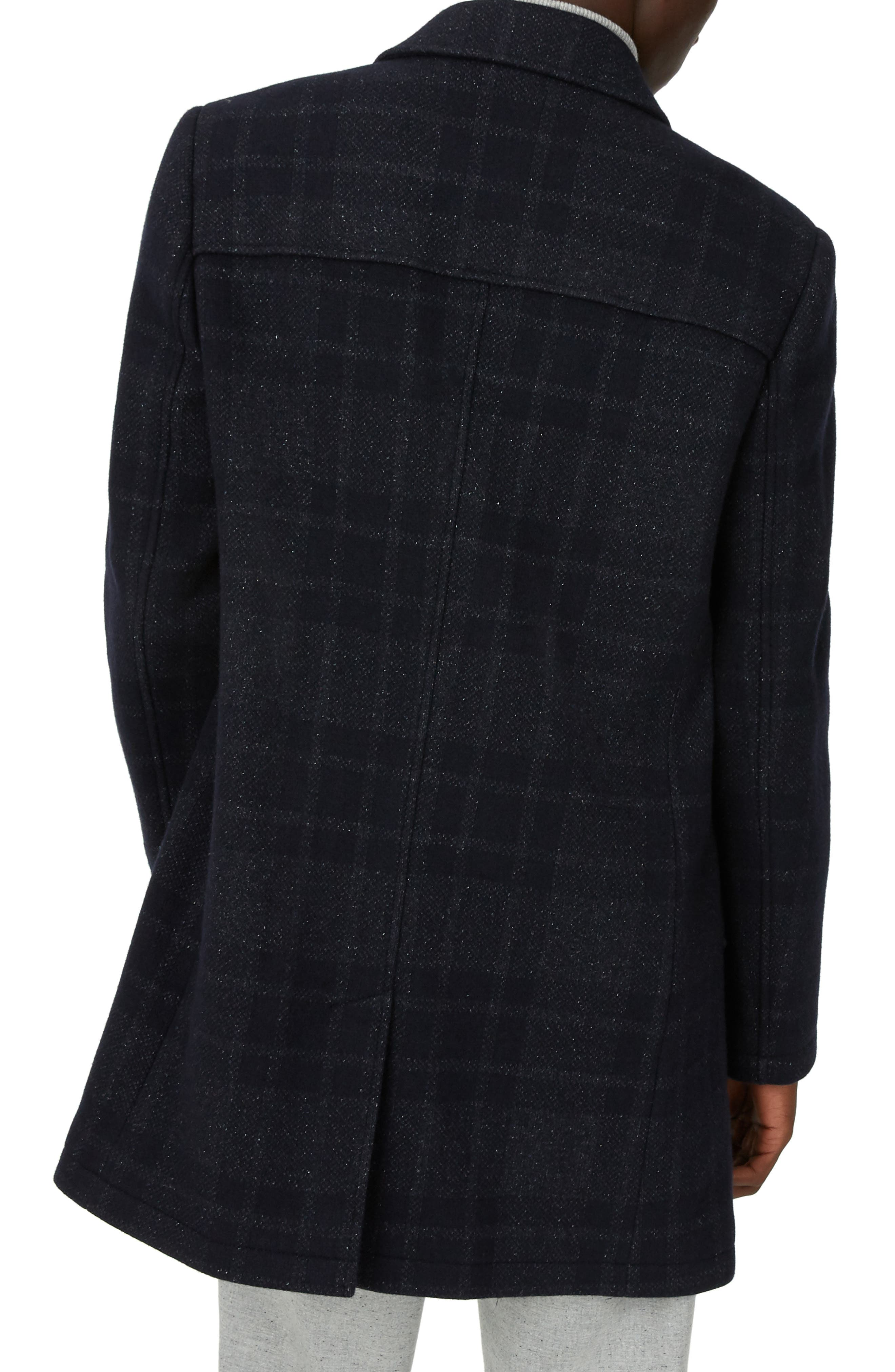 Luther Trim Fit Plaid Wool Blend Coat,                             Alternate thumbnail 2, color,                             NAVY MULTI