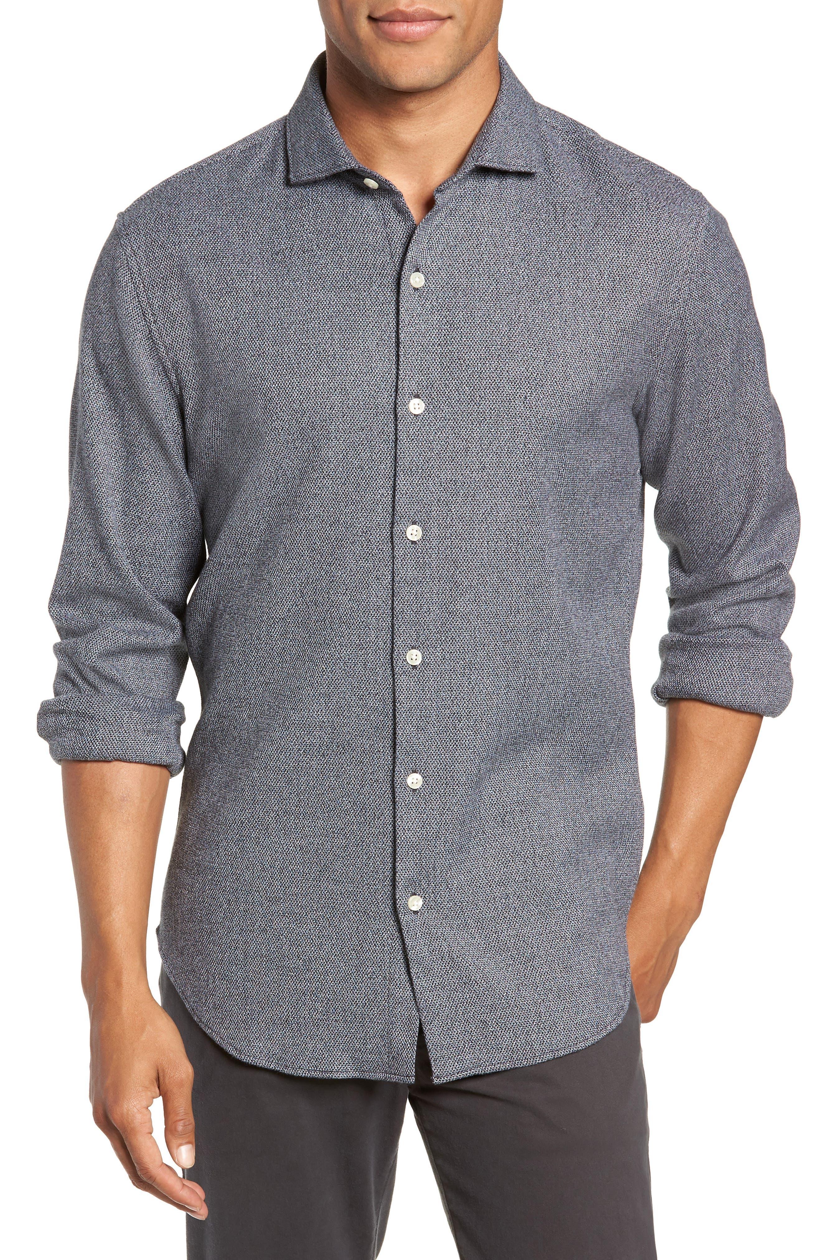 Unbutton Slim Fit Sport Shirt,                             Main thumbnail 1, color,                             JASPE TEXTURE - STERLING