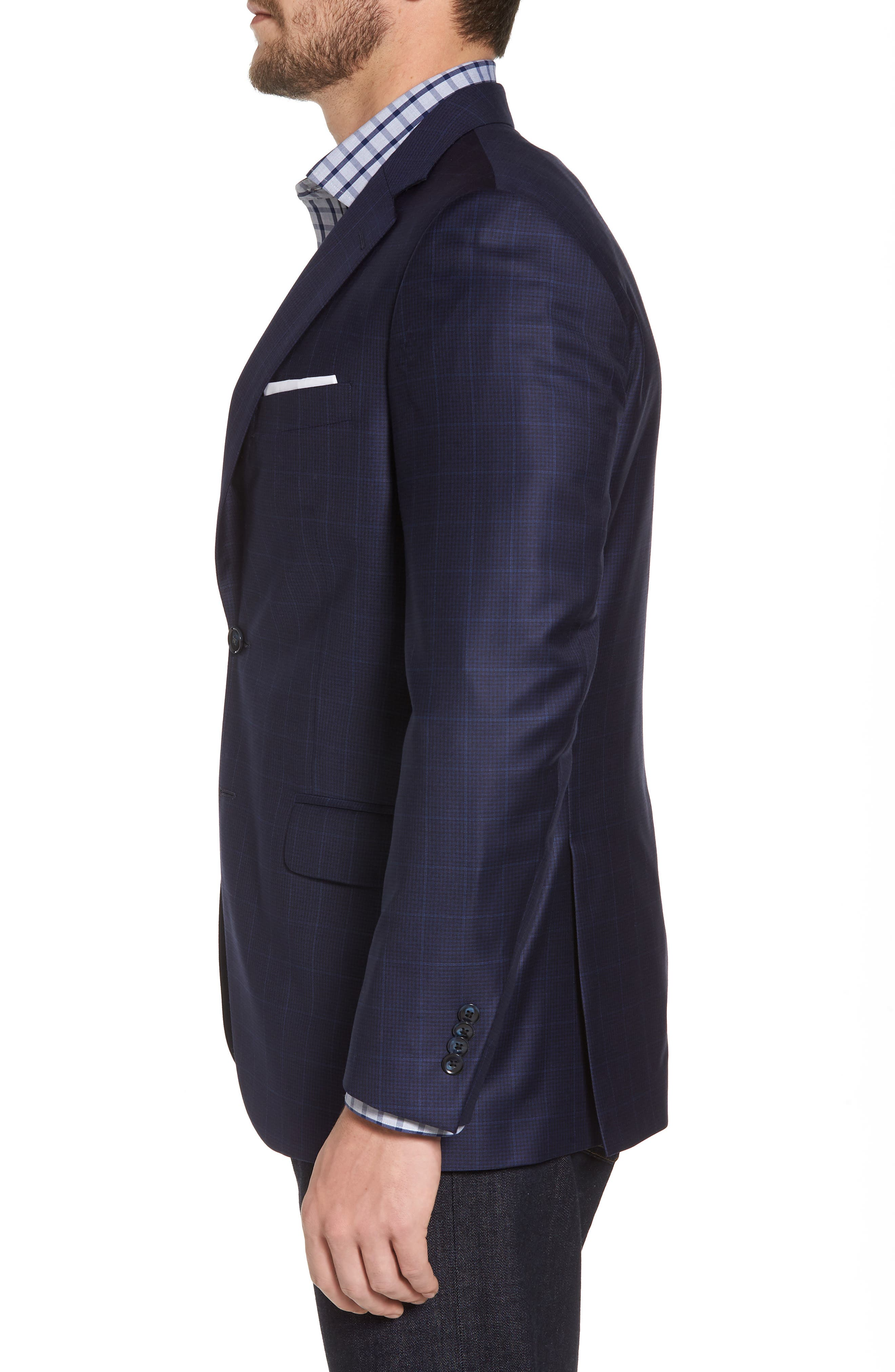 Classic Fit Windowpane Wool Sport Coat,                             Alternate thumbnail 3, color,                             410