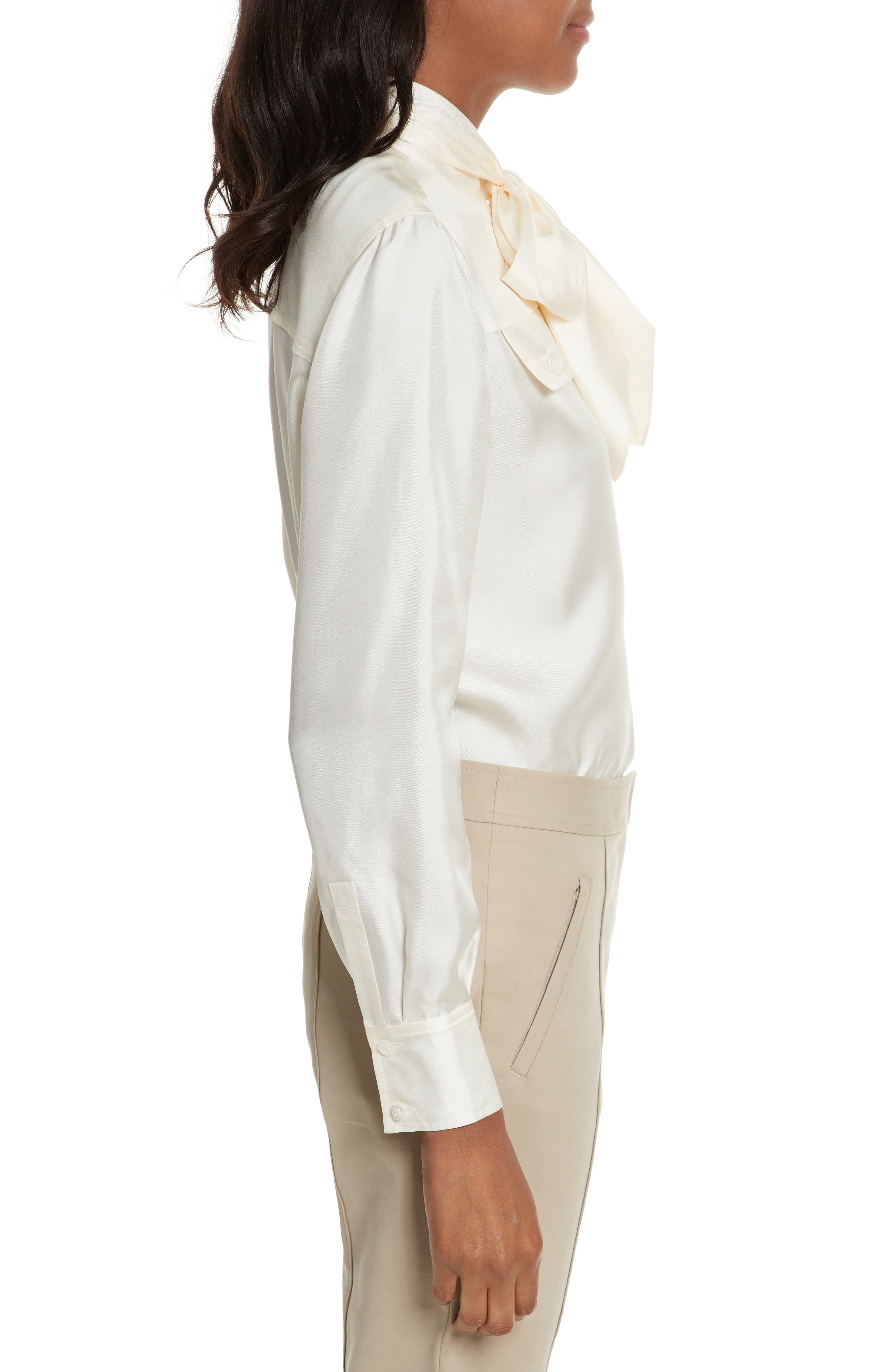 TORY BURCH,                             Holly Tie Neck Silk Blouse,                             Alternate thumbnail 3, color,                             904