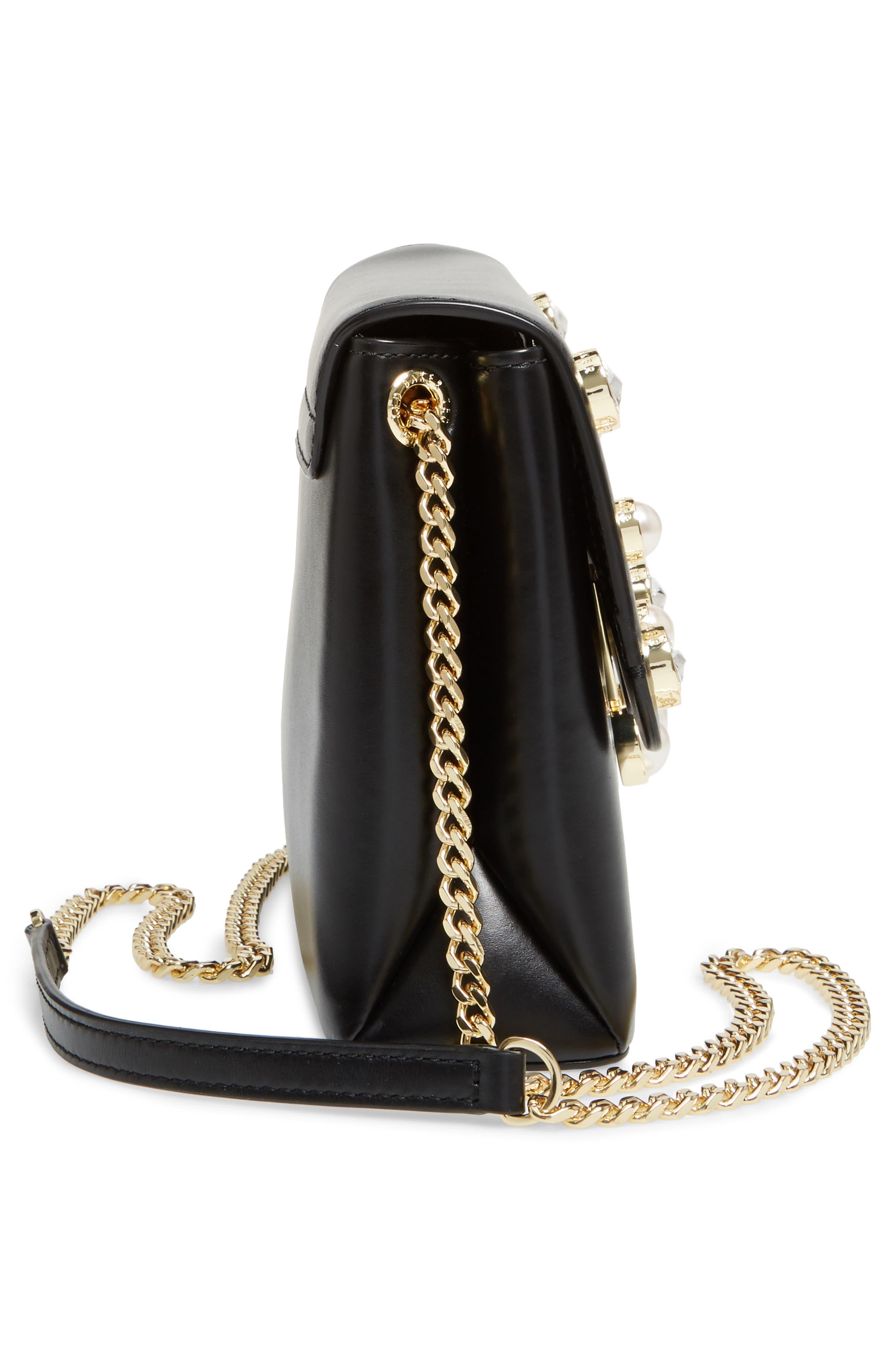 Saraa Leather Crossbody Bag,                             Alternate thumbnail 5, color,                             001