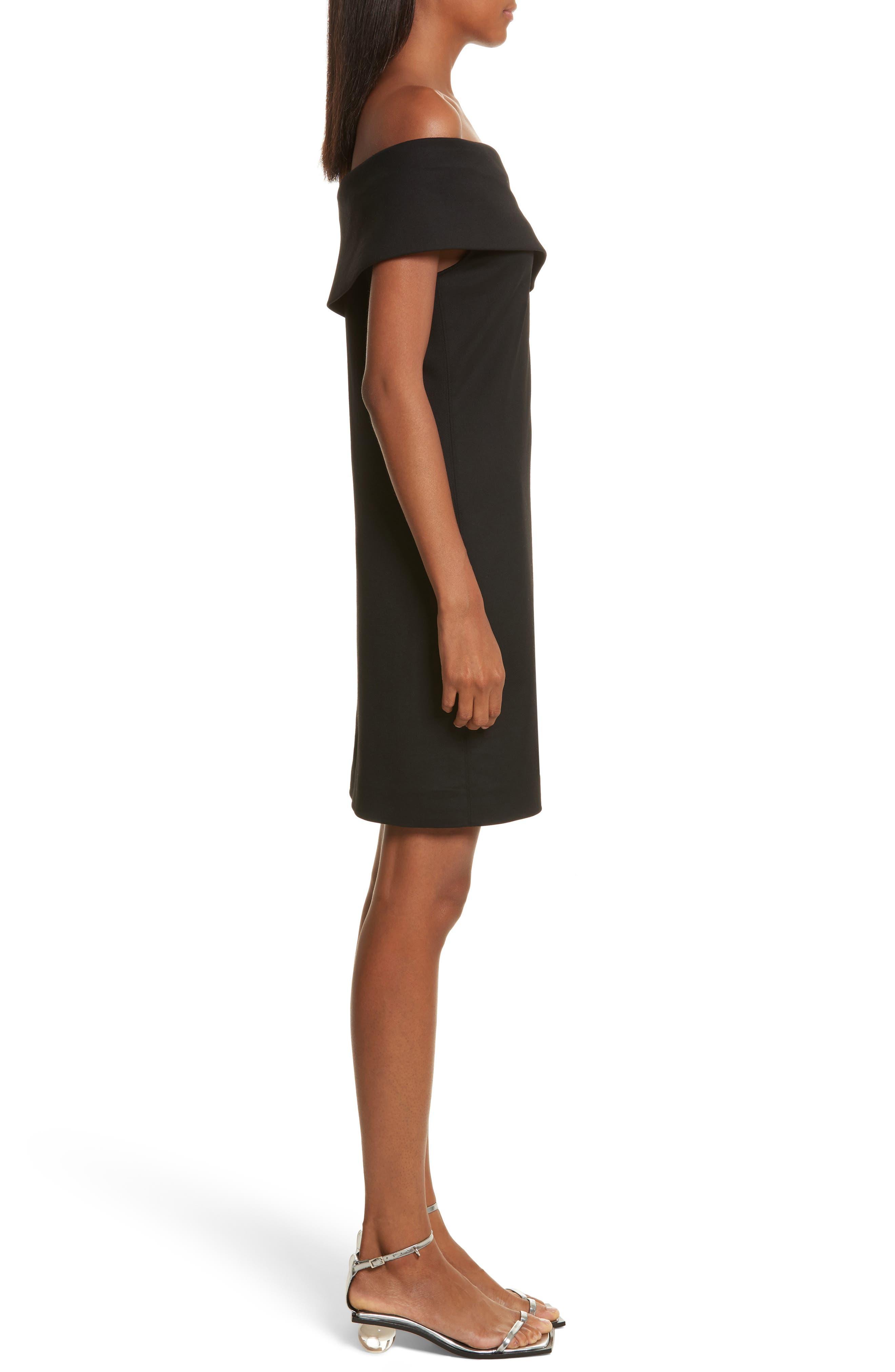 Asymmetrical Off the Shoulder Scuba Dress,                             Alternate thumbnail 3, color,                             001