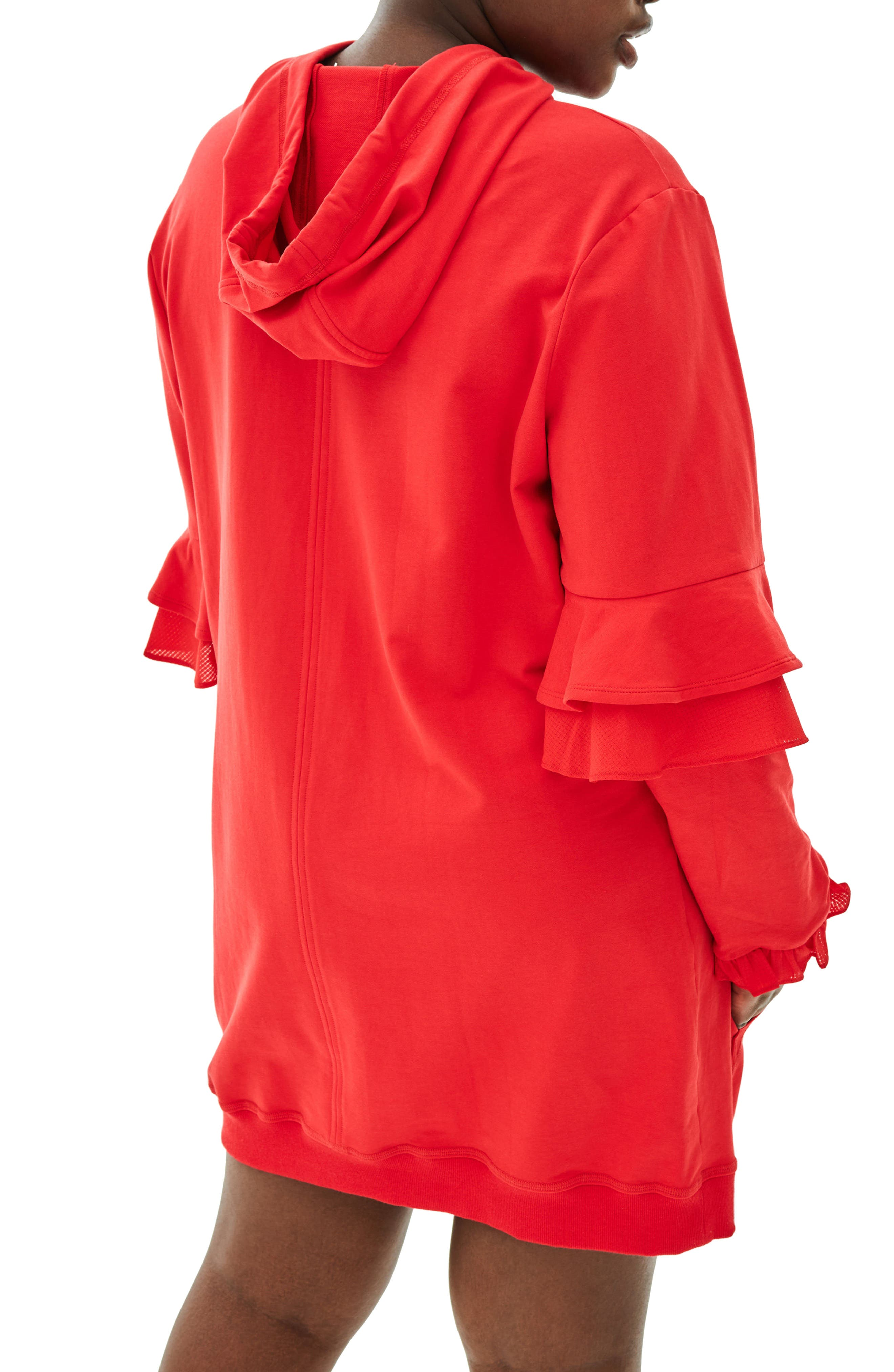 The Snapdragon Ruffle Sleeve Hoodie Dress,                             Alternate thumbnail 2, color,                             RED