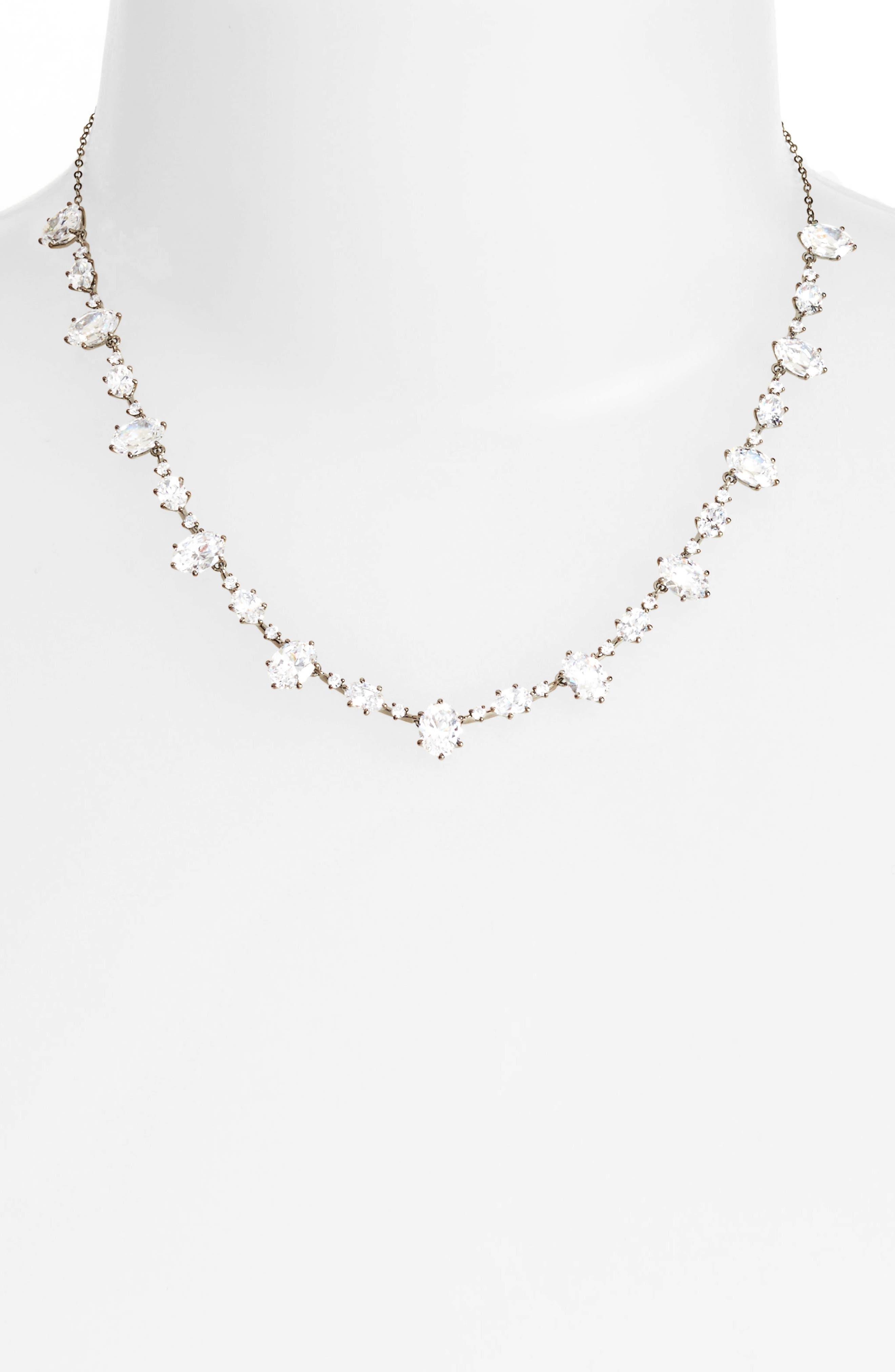 Royale Cubic Zirconia Collar Necklace,                             Alternate thumbnail 2, color,                             001