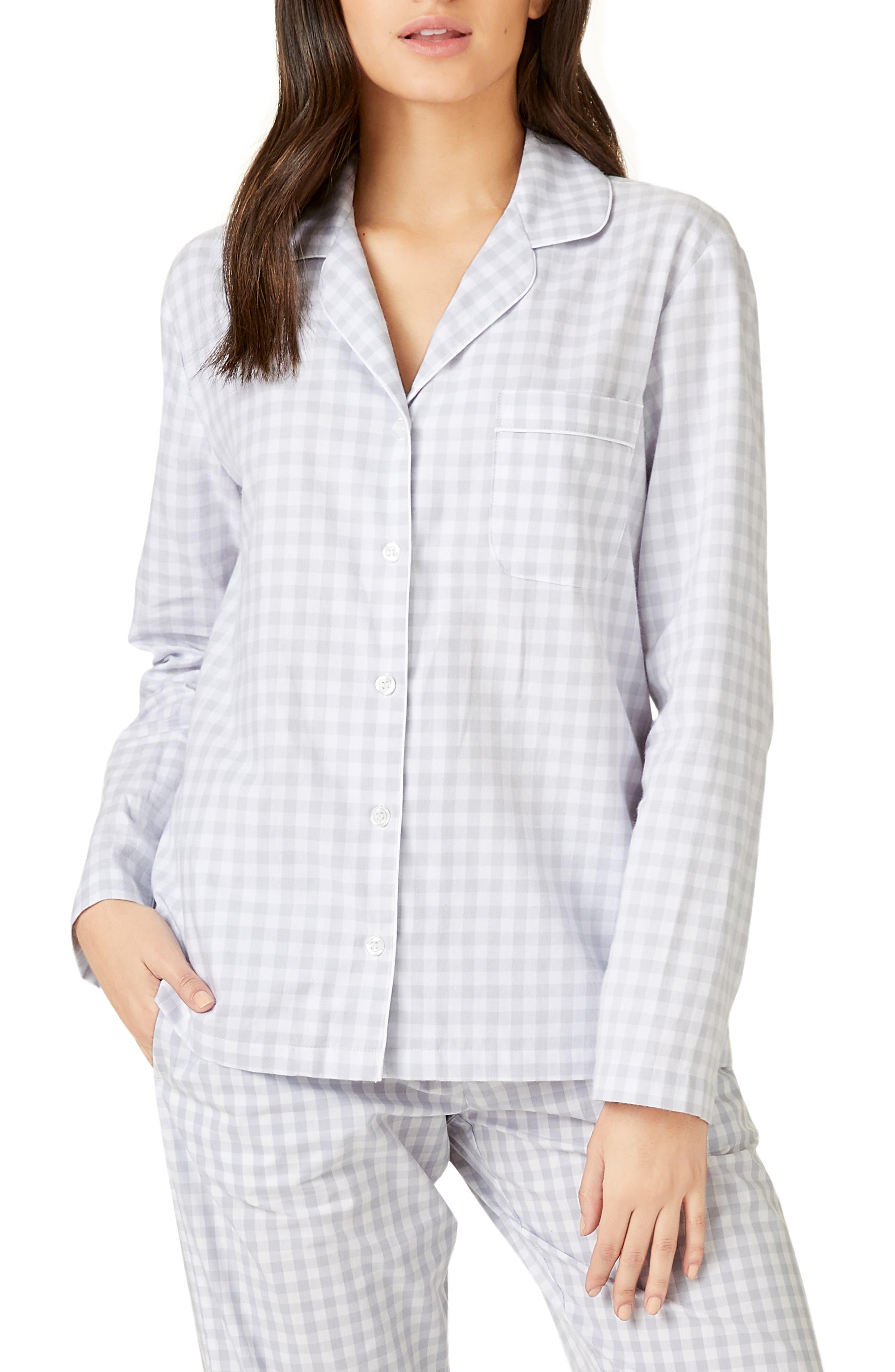 The White Company Cotton Flannel Pajama Top, White