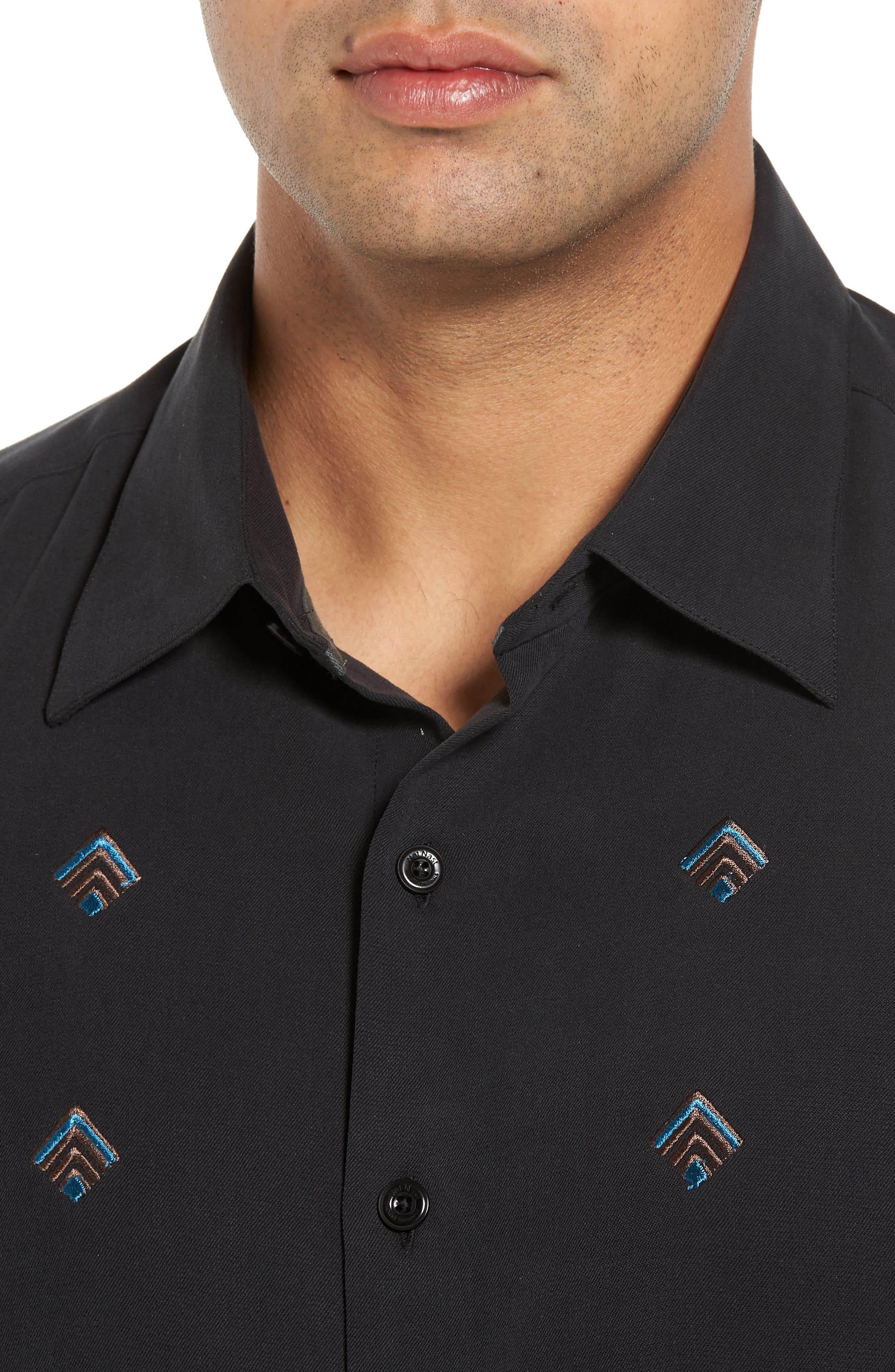 Nordic Embroidered Silk Blend Sport Shirt,                             Alternate thumbnail 7, color,