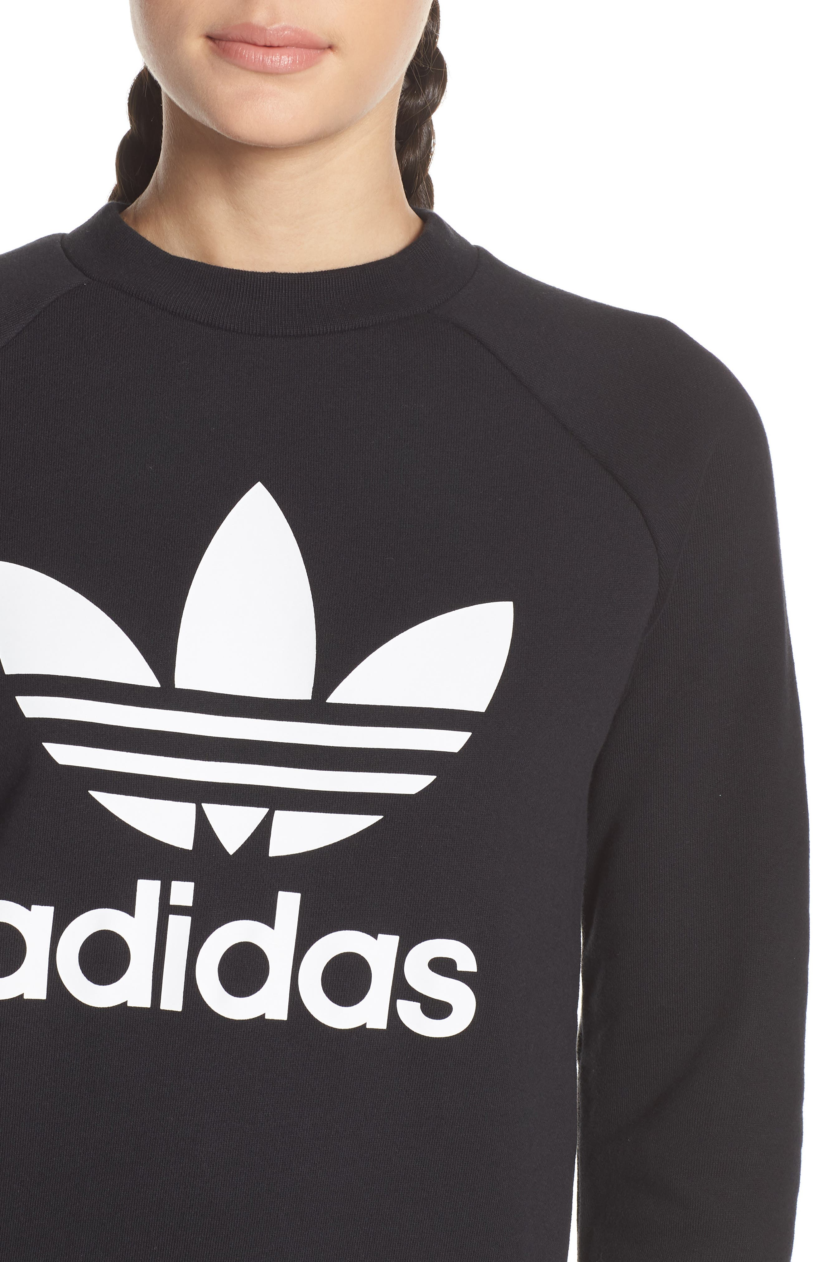 ADIDAS ORIGINALS,                             Trefoil Sweatshirt,                             Alternate thumbnail 4, color,                             BLACK