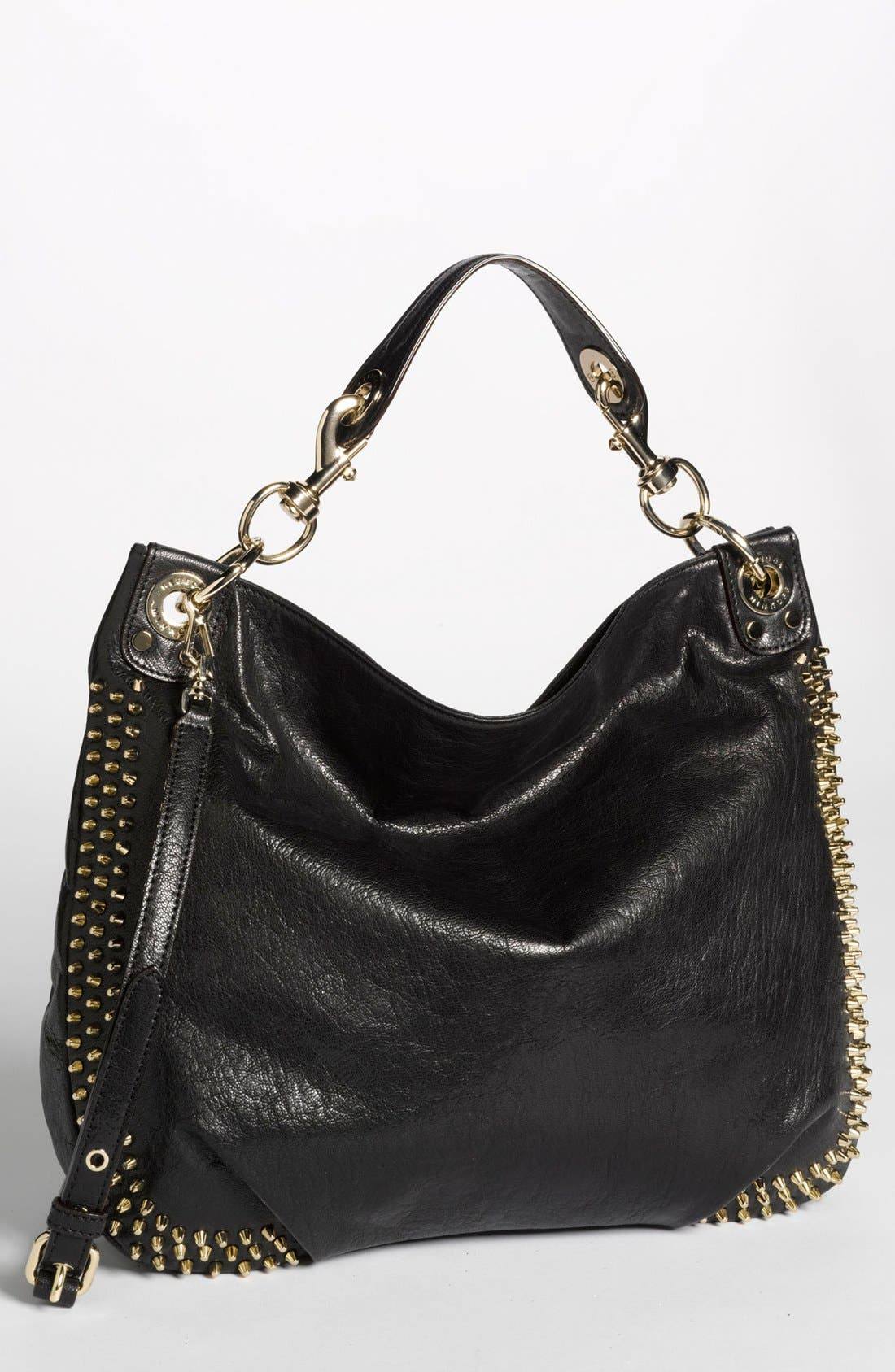 'Mini-Luscious' Studded Hobo, Large, Main, color, 001