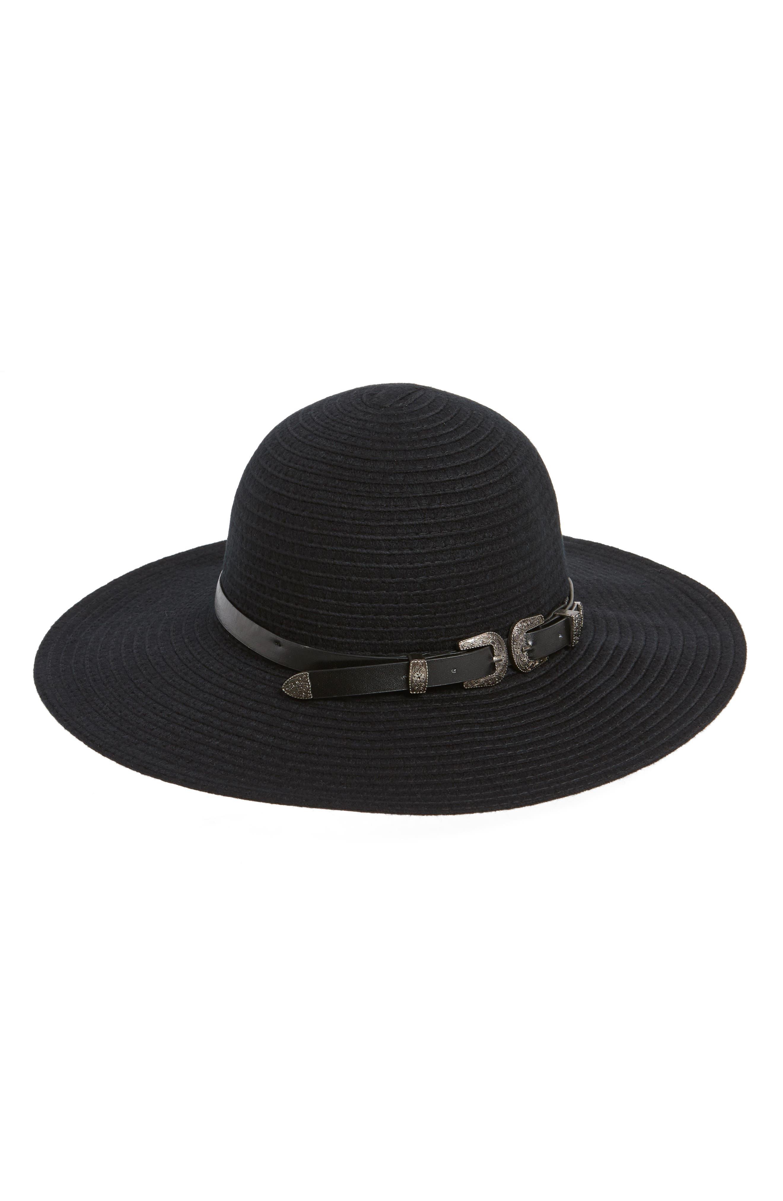 Belted Floppy Felt Hat,                             Main thumbnail 1, color,                             BLACK