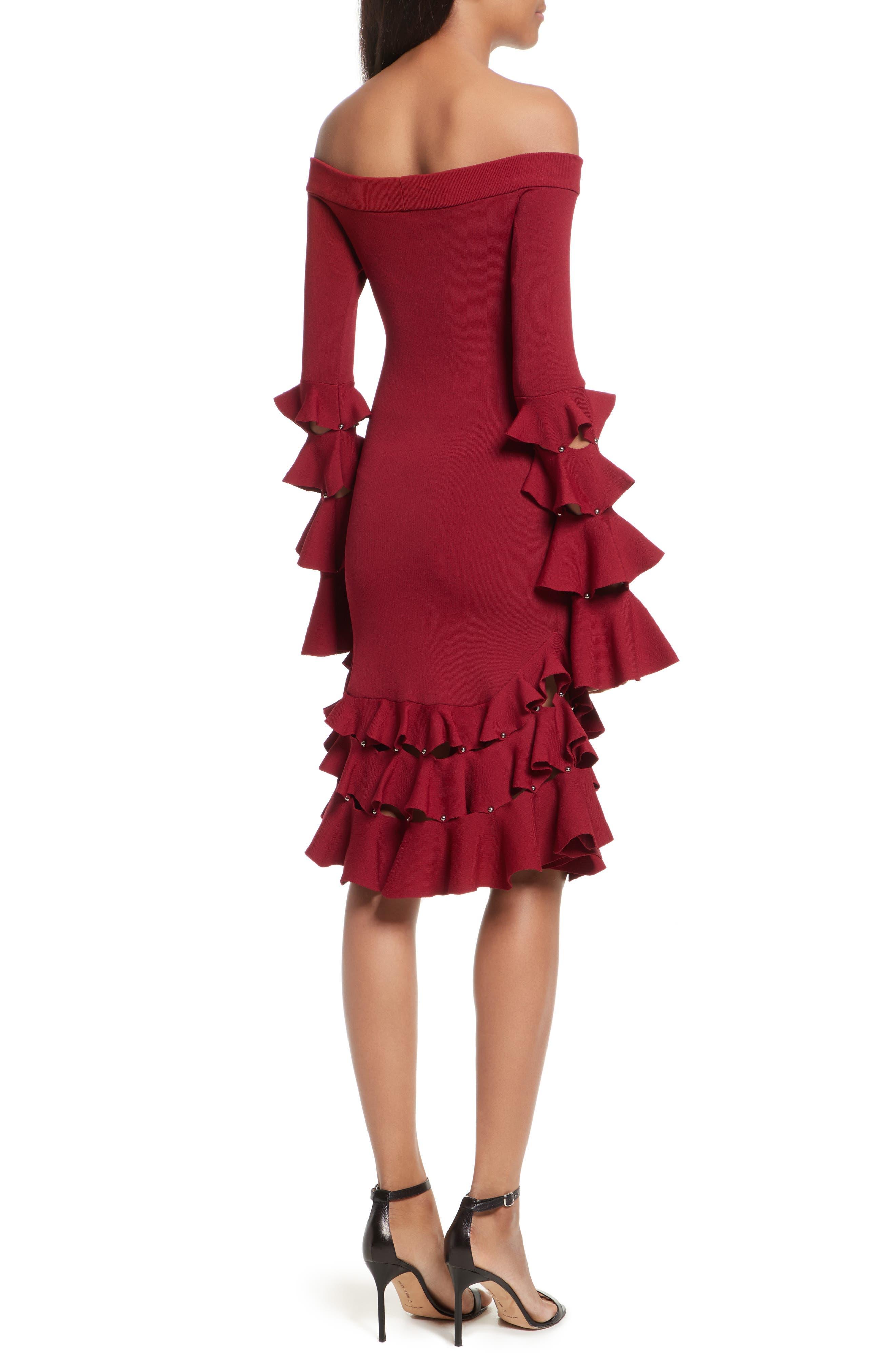 Slashed Knit Ruffle Off the Shoulder Dress,                             Alternate thumbnail 2, color,                             604