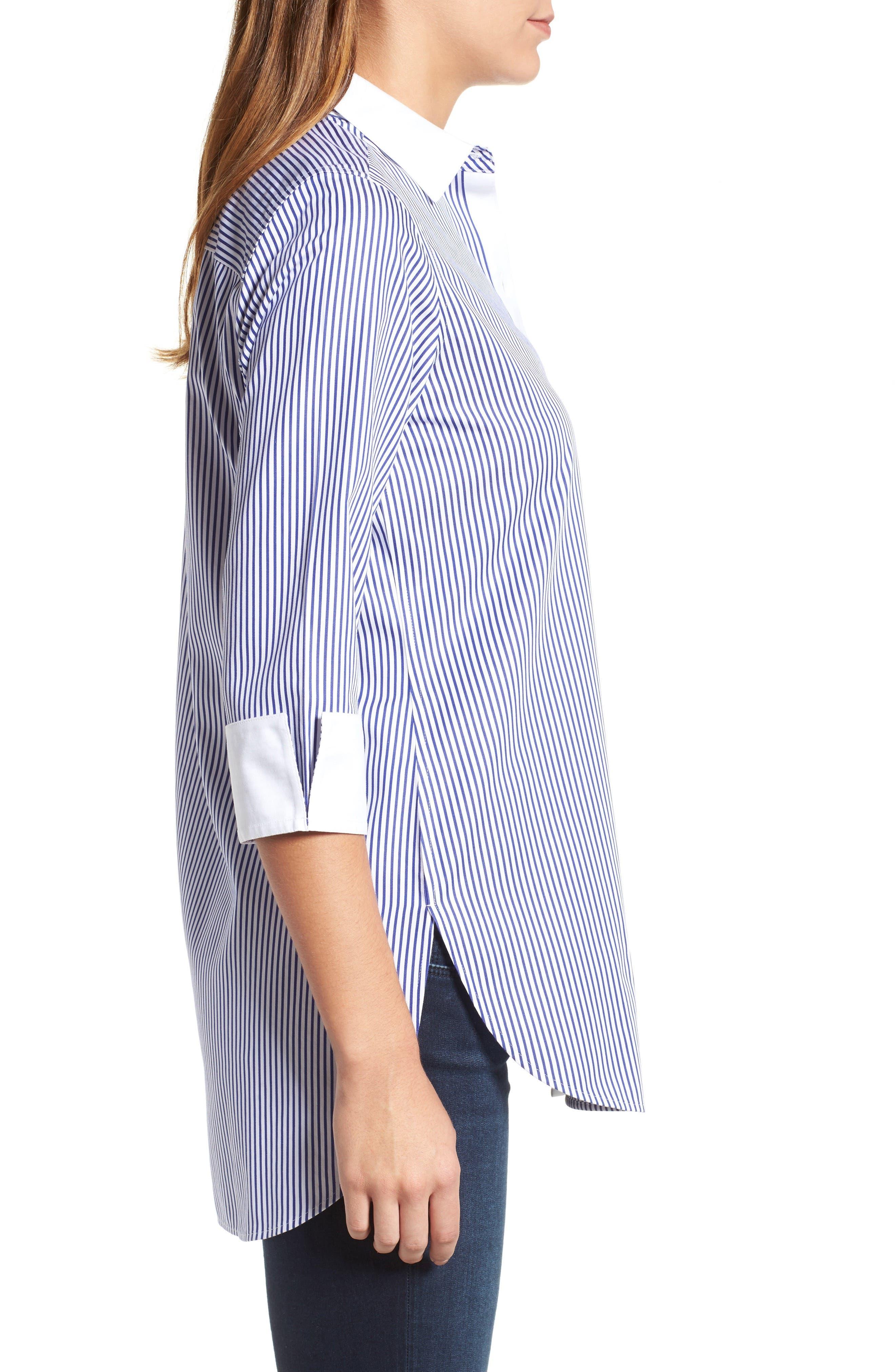 Mini Stripe Non-Iron Tunic Shirt,                             Alternate thumbnail 3, color,                             400
