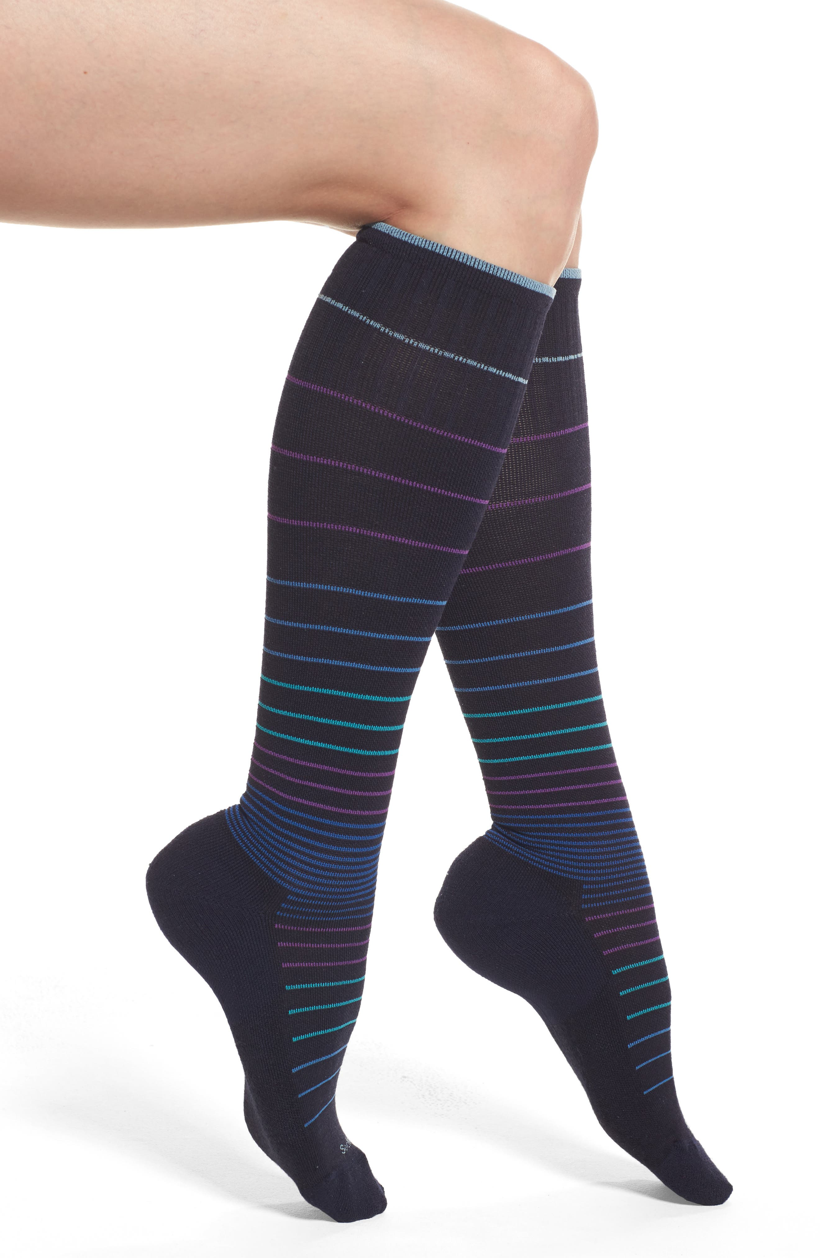 Circulator Compression Socks,                             Alternate thumbnail 2, color,                             NAVY BLACK/ BLUE STRIPES