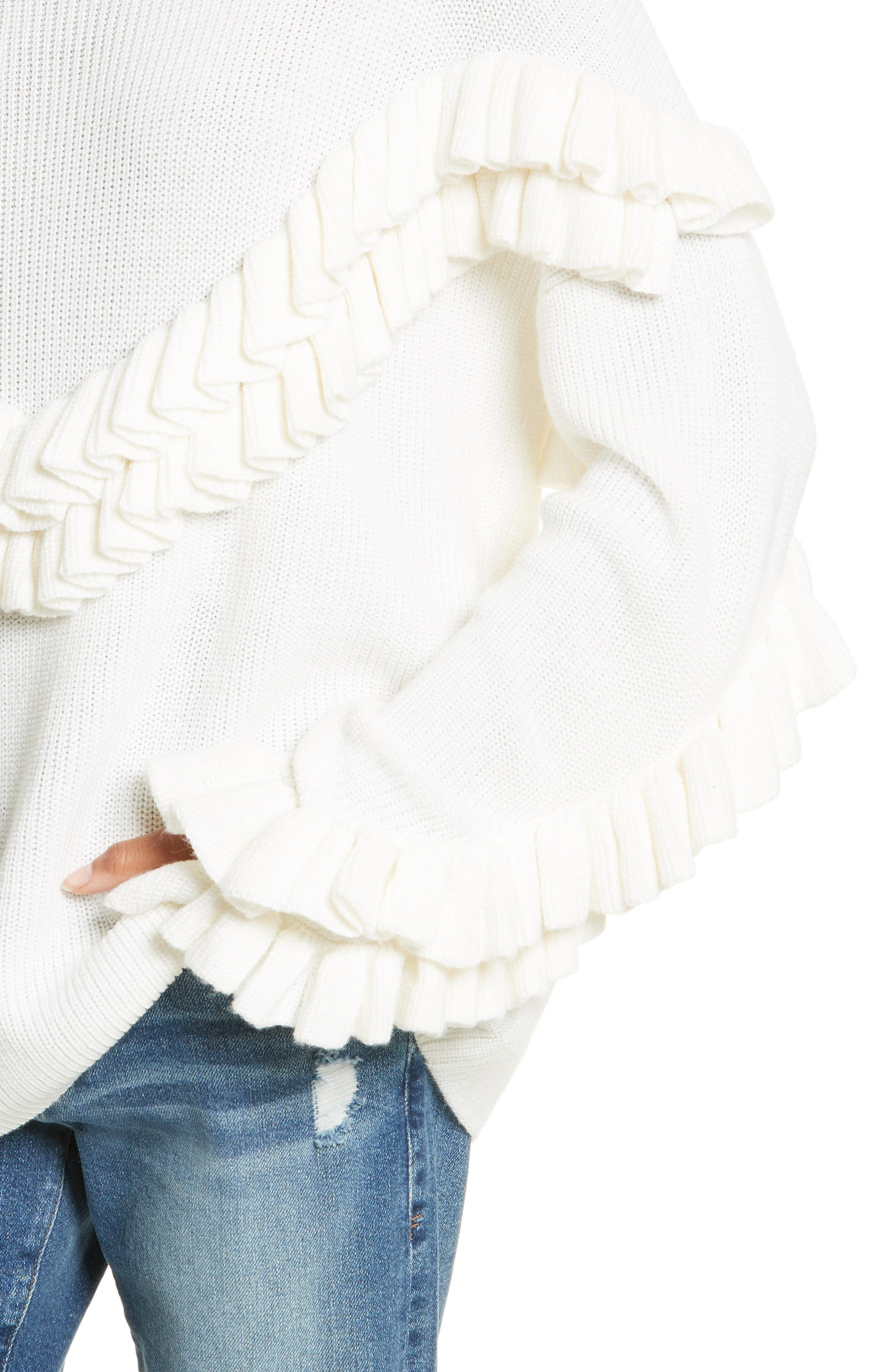 Ruffle Dolman Sweater,                             Alternate thumbnail 4, color,