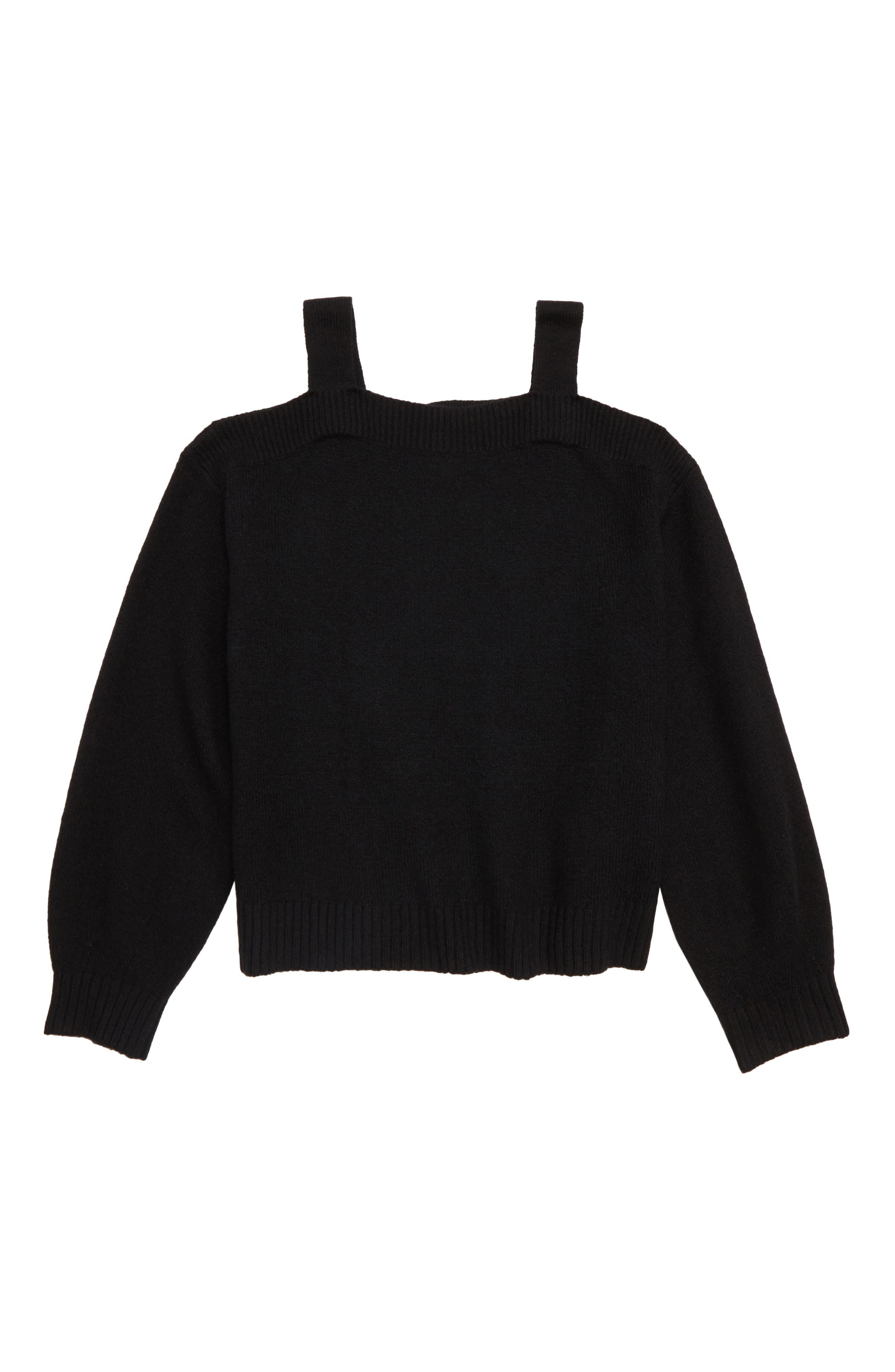Oversize Cold Shoulder Sweater,                         Main,                         color, BLACK
