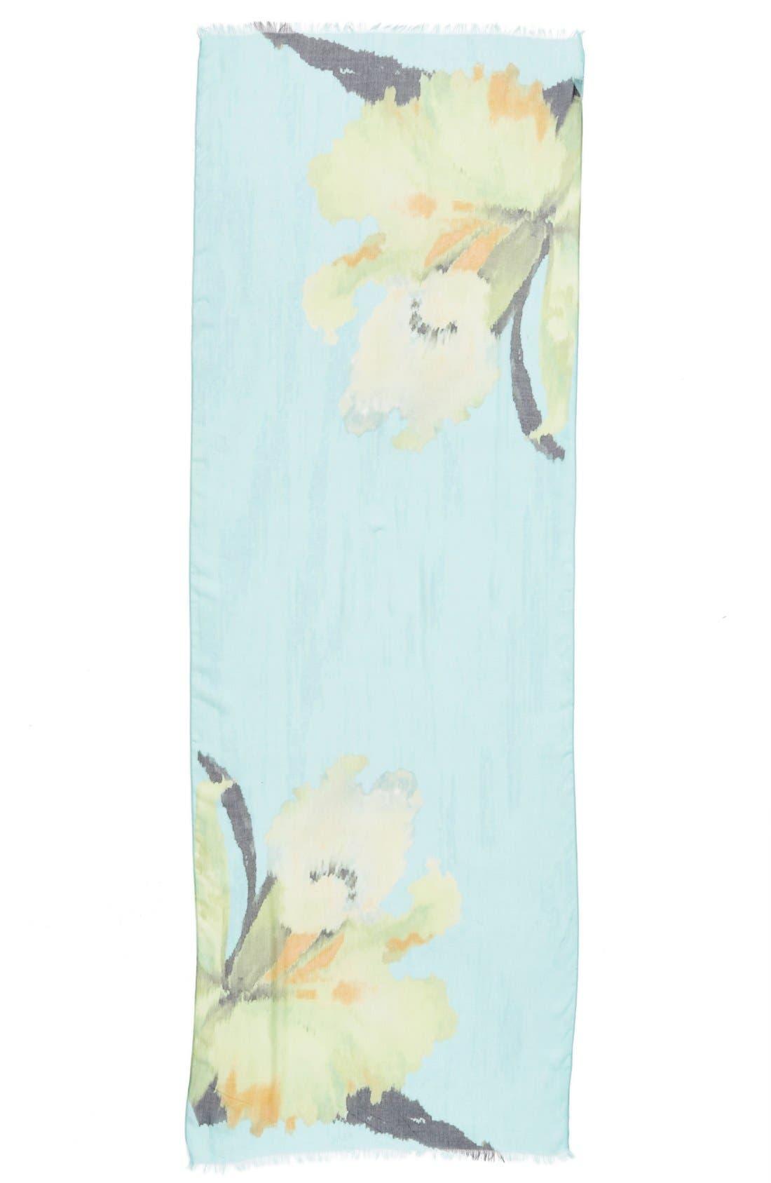 'Wild Iris' Print Modal & Silk Scarf,                             Alternate thumbnail 4, color,