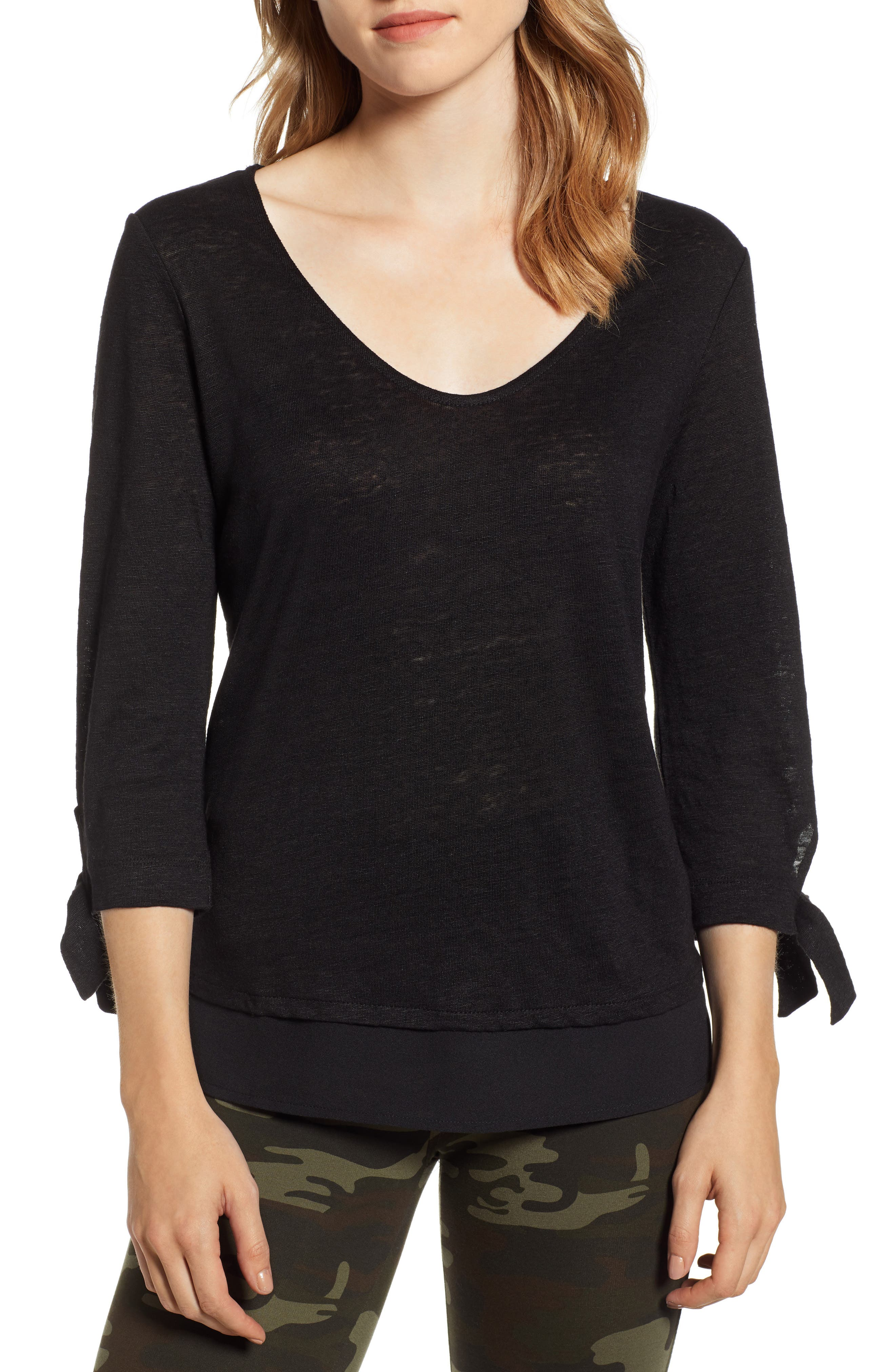 Sylvie Tiered Hem Linen Tee,                             Main thumbnail 1, color,                             001