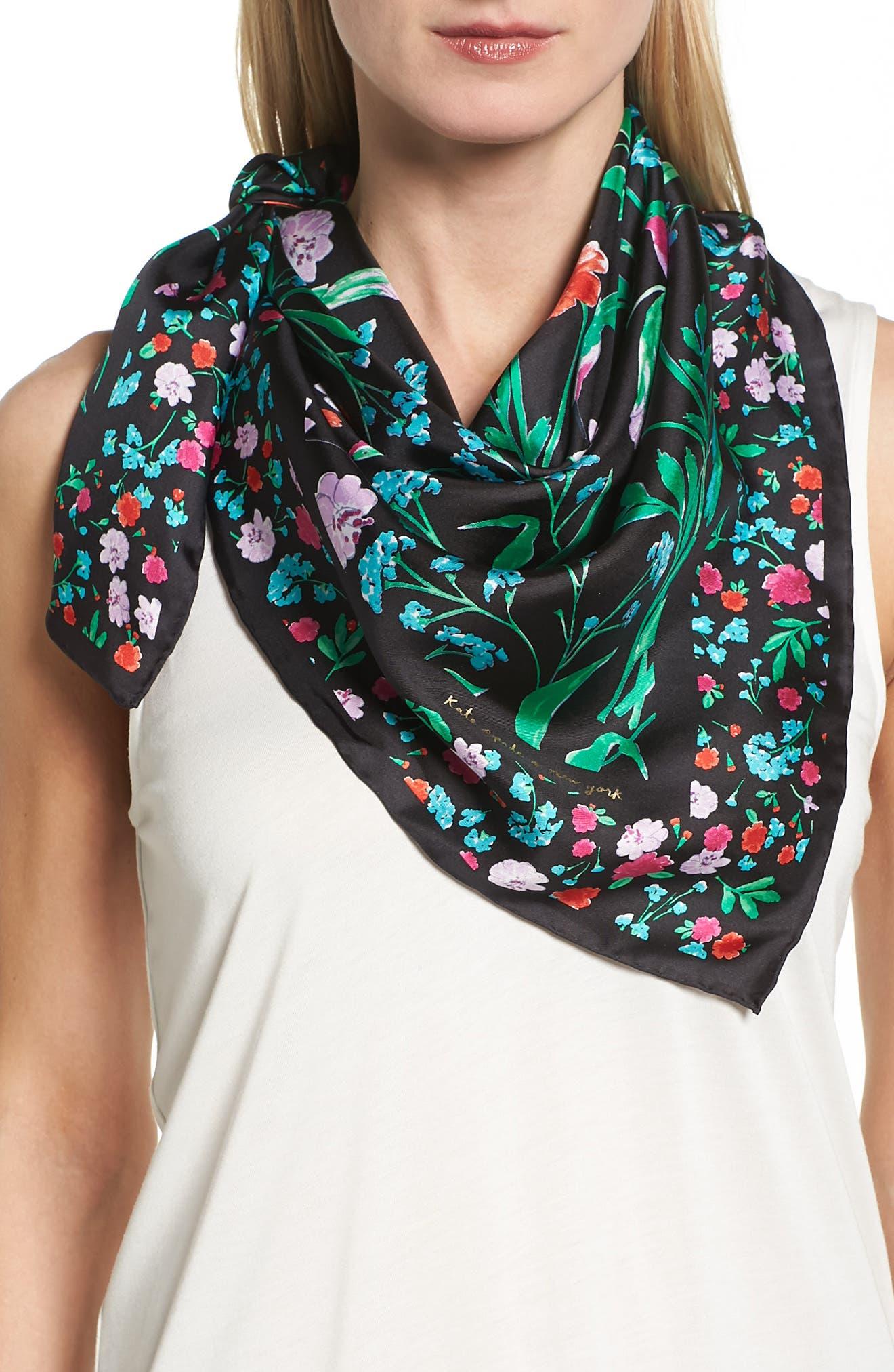 KATE SPADE NEW YORK jardin silk square scarf, Main, color, 001