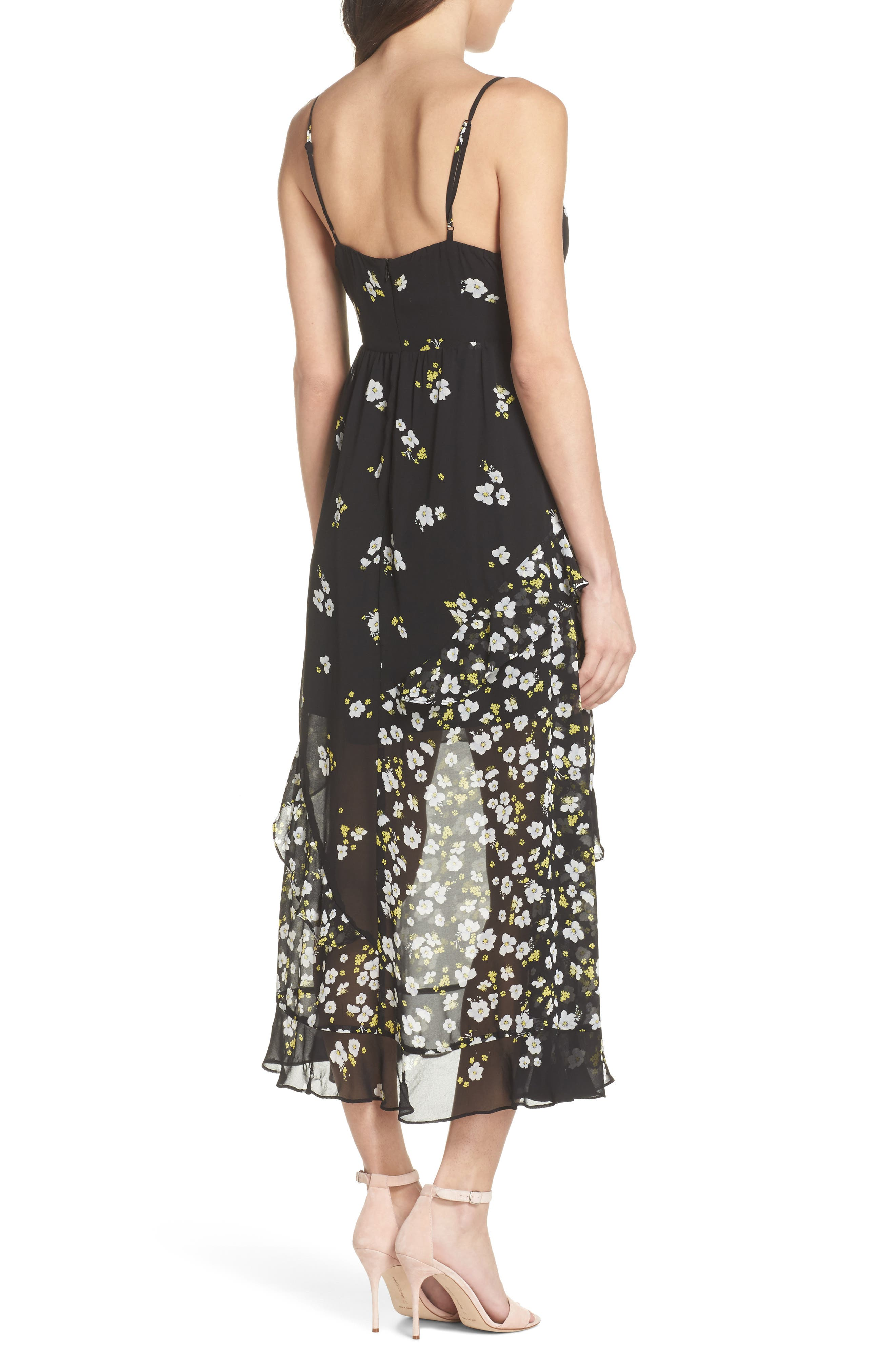 Ditzy Floral & Ruffle Chiffon Dress,                             Alternate thumbnail 2, color,                             001