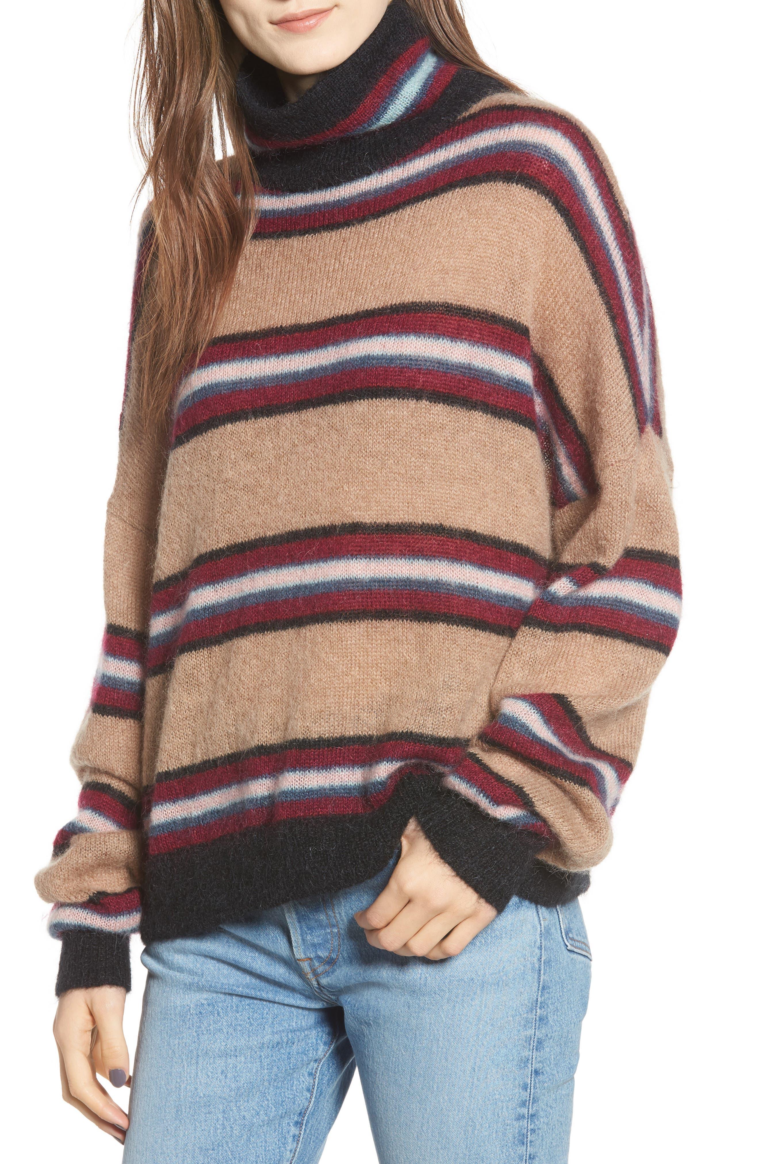 Ella Stripe Turtleneck Sweater,                             Main thumbnail 1, color,                             250