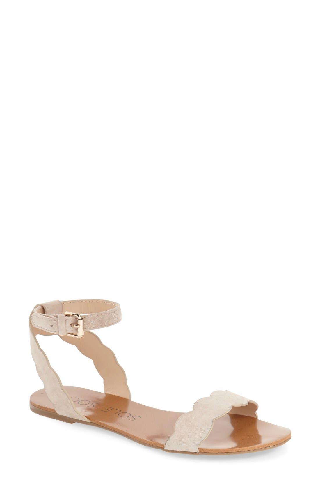'Odette' Scalloped Ankle Strap Flat Sandal,                             Main thumbnail 5, color,
