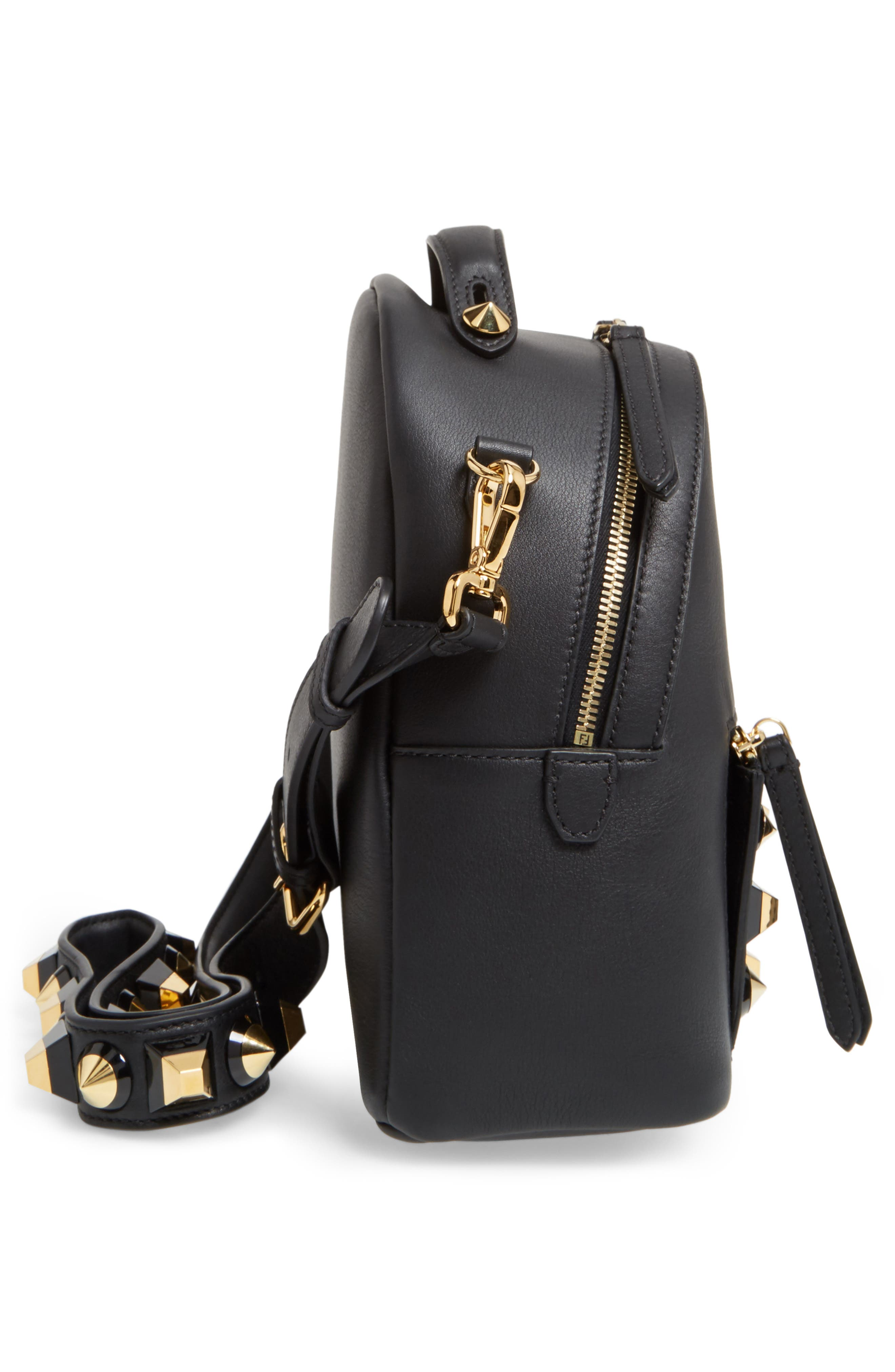 Mini Studded Leather Backpack,                             Alternate thumbnail 5, color,                             006