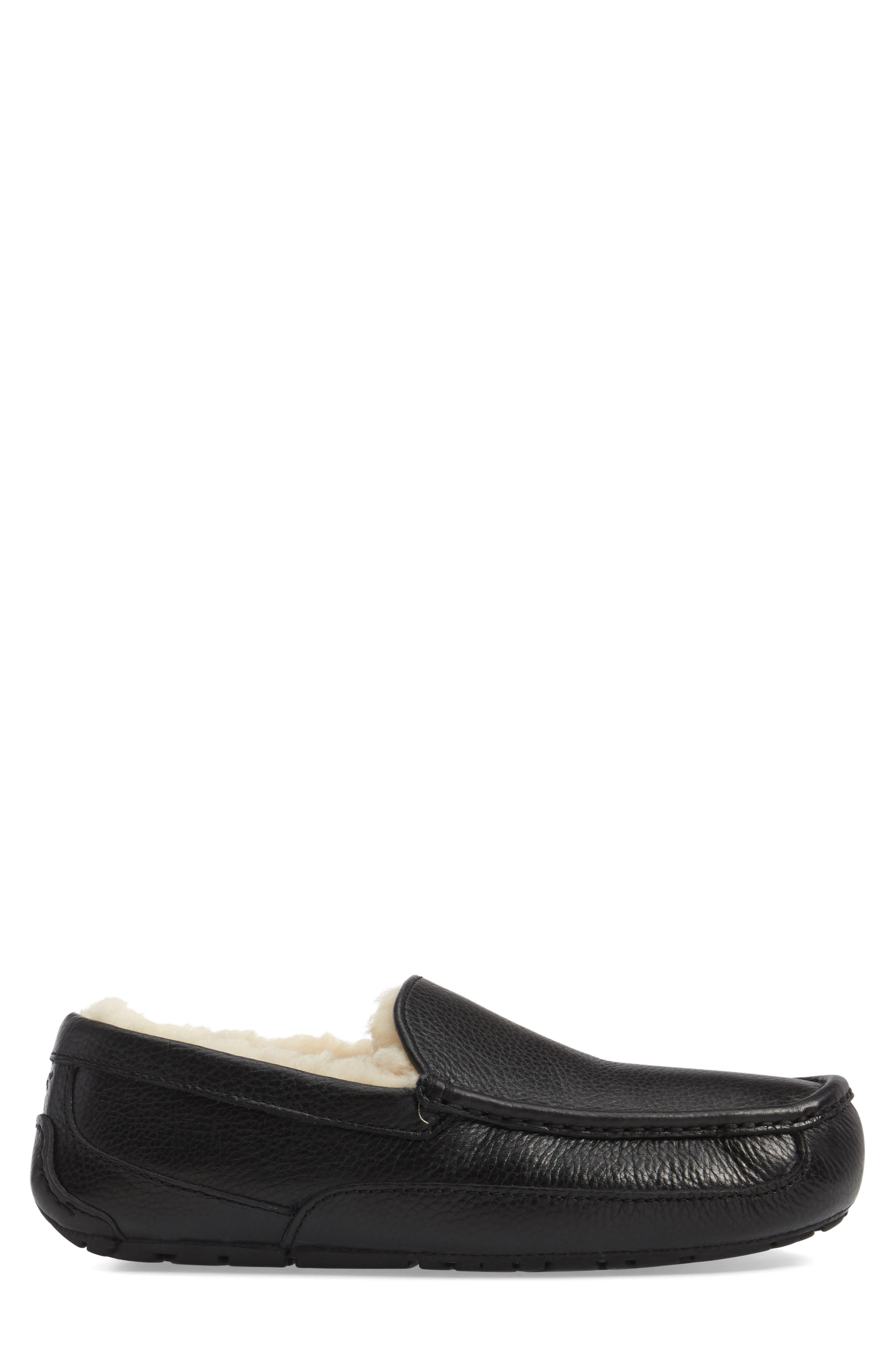 Ascot Leather Slipper,                             Alternate thumbnail 3, color,                             BLACK