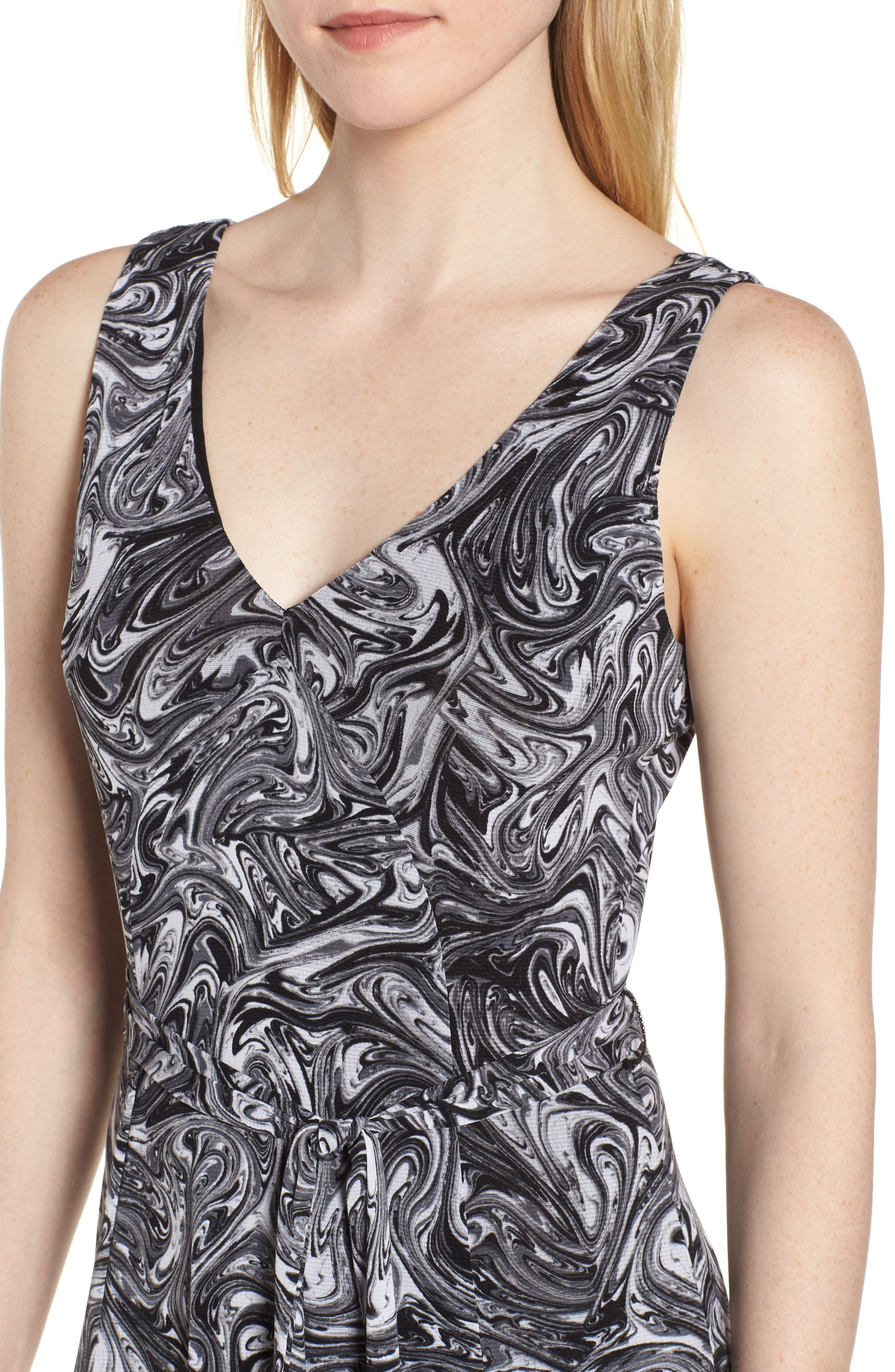 Watermark Swirl Flare Tank Dress,                             Alternate thumbnail 4, color,                             001