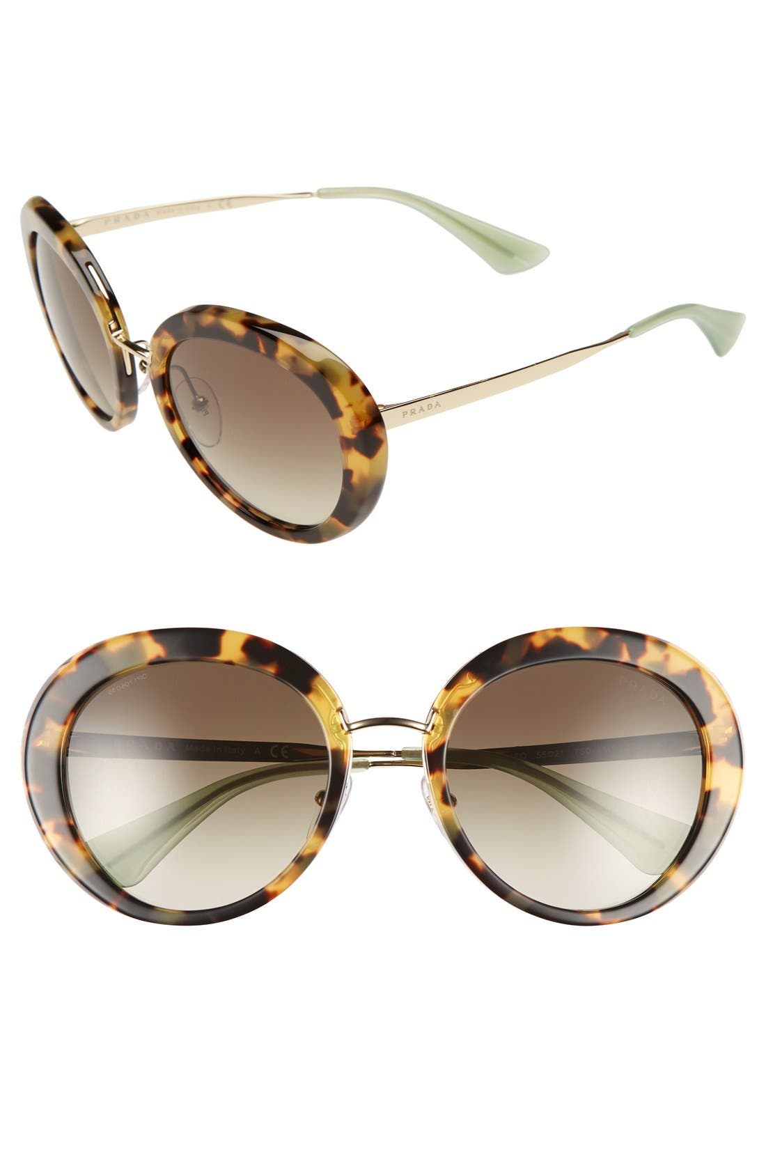 55mm Round Sunglasses, Main, color, 200