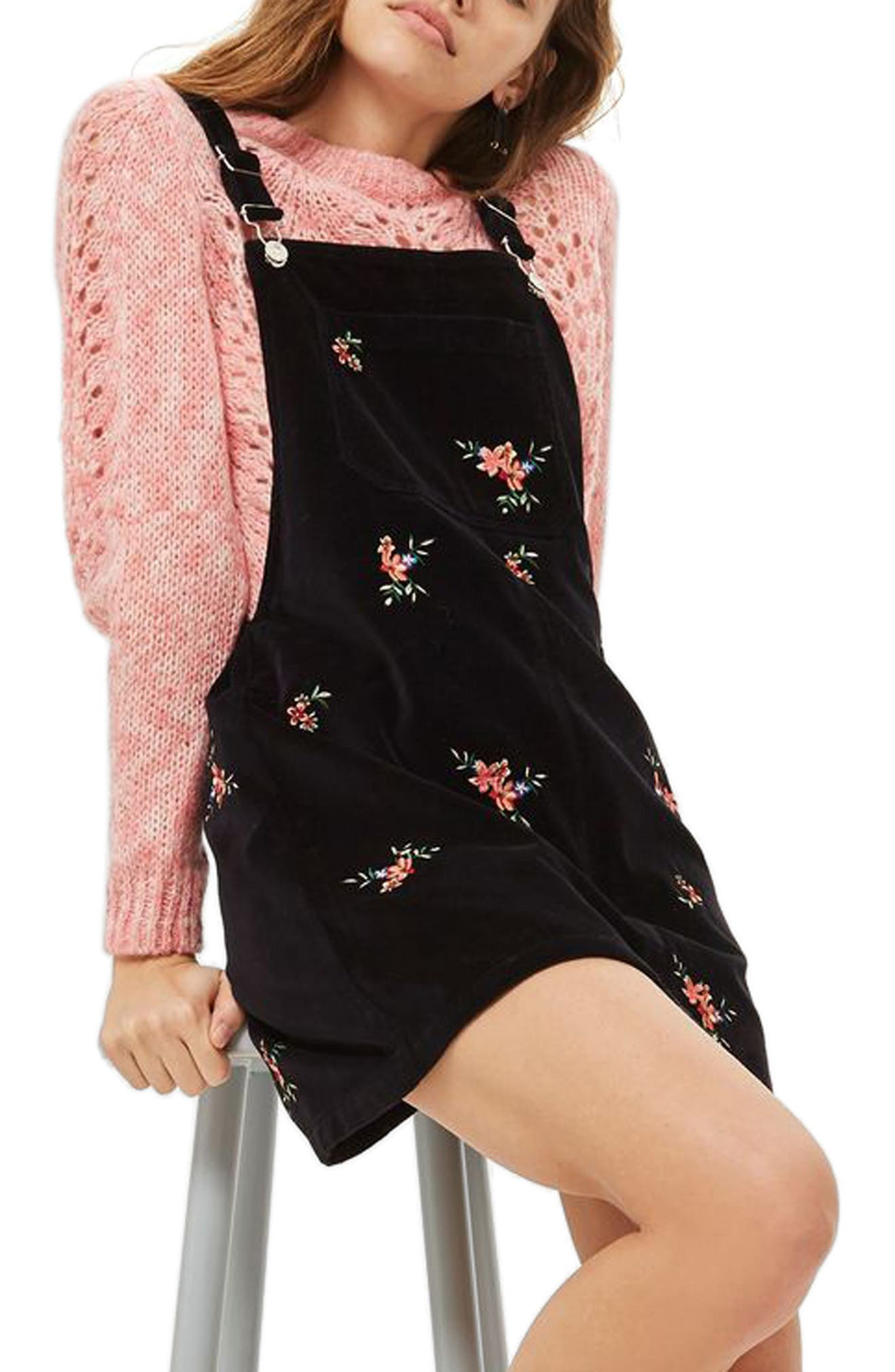 Embroidered Velvet Pinafore Dress,                         Main,                         color, 001