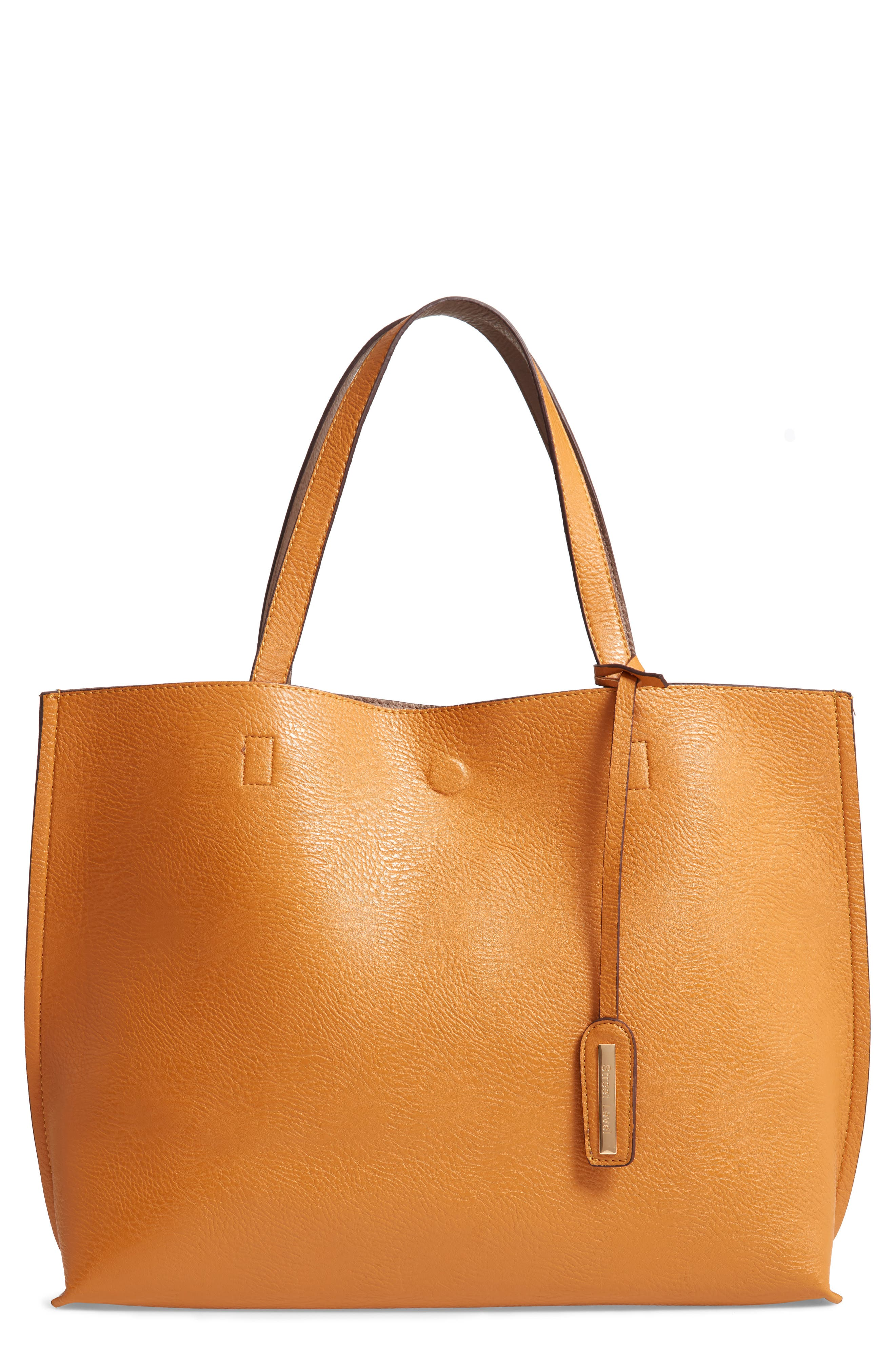 Reversible Faux Leather Tote & Wristlet,                         Main,                         color, MUSTARD