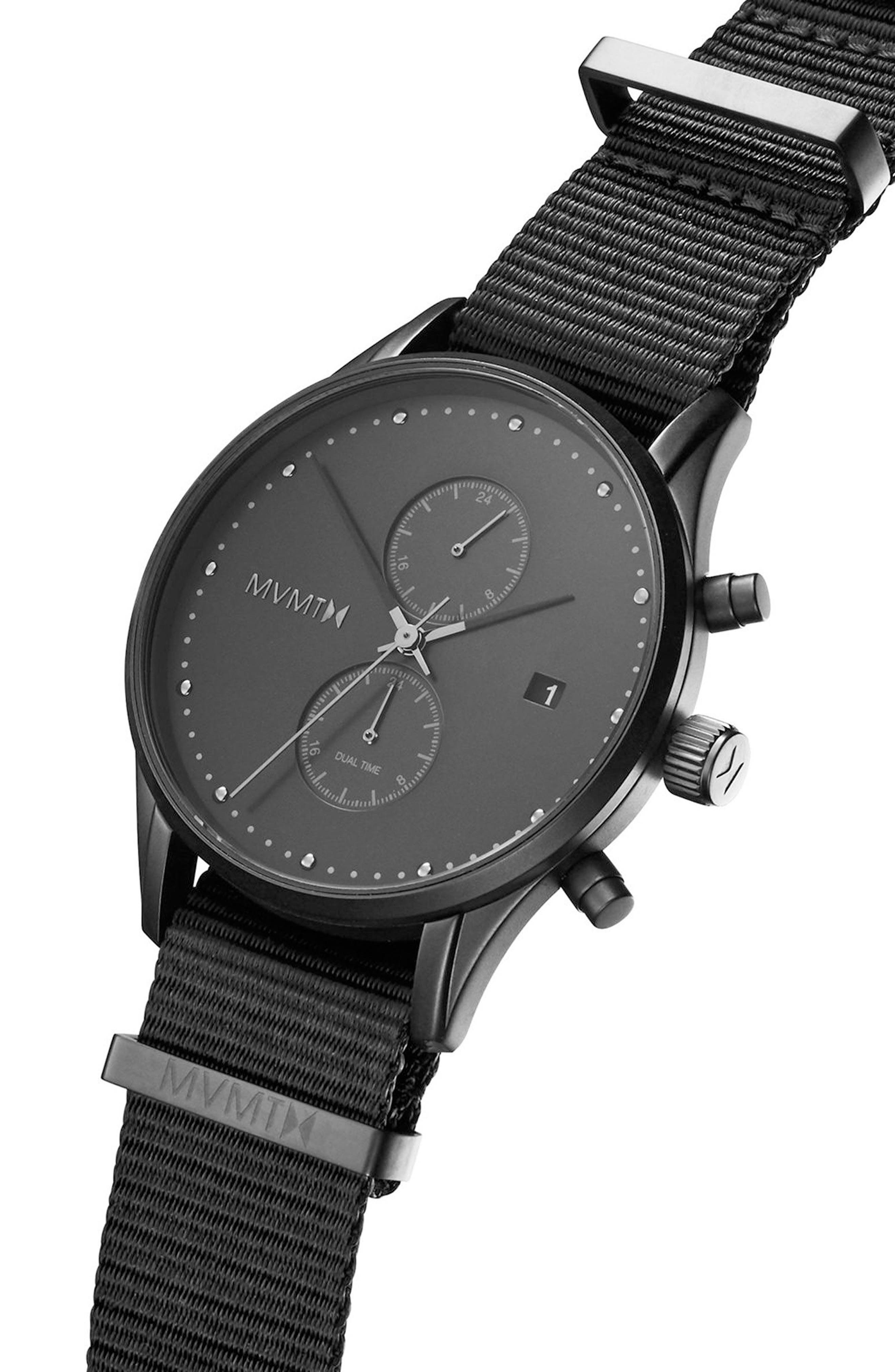 Voyager Chronograph Canvas Strap Watch, 42mm,                             Alternate thumbnail 3, color,                             001