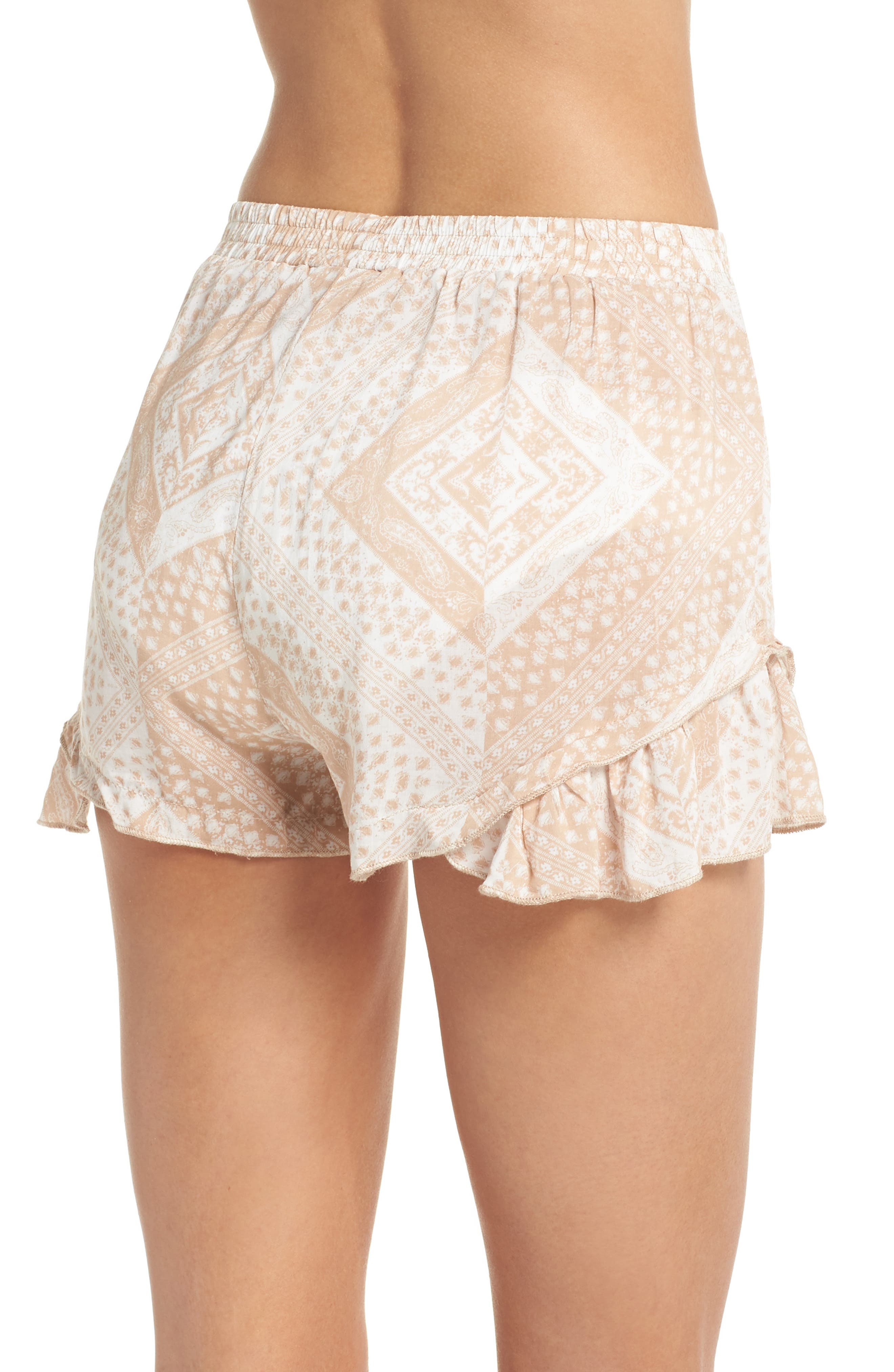 Tassel Trim Cover-Up Shorts,                             Alternate thumbnail 2, color,                             TAN SCARF