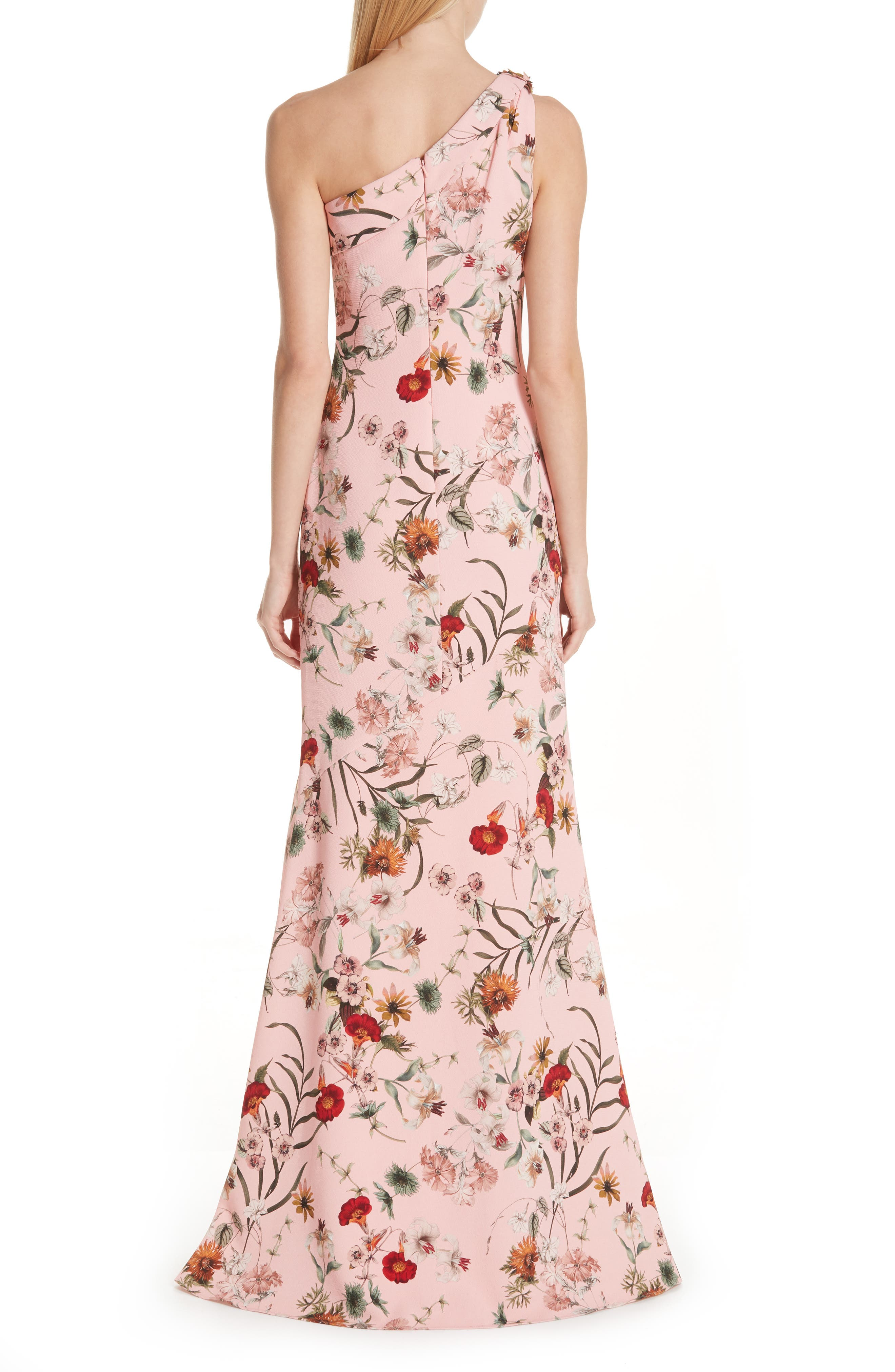 BADGLEY MISCHKA COLLECTION,                             Badgley Mischka One-Shoulder Floral Evening Dress,                             Alternate thumbnail 2, color,                             650