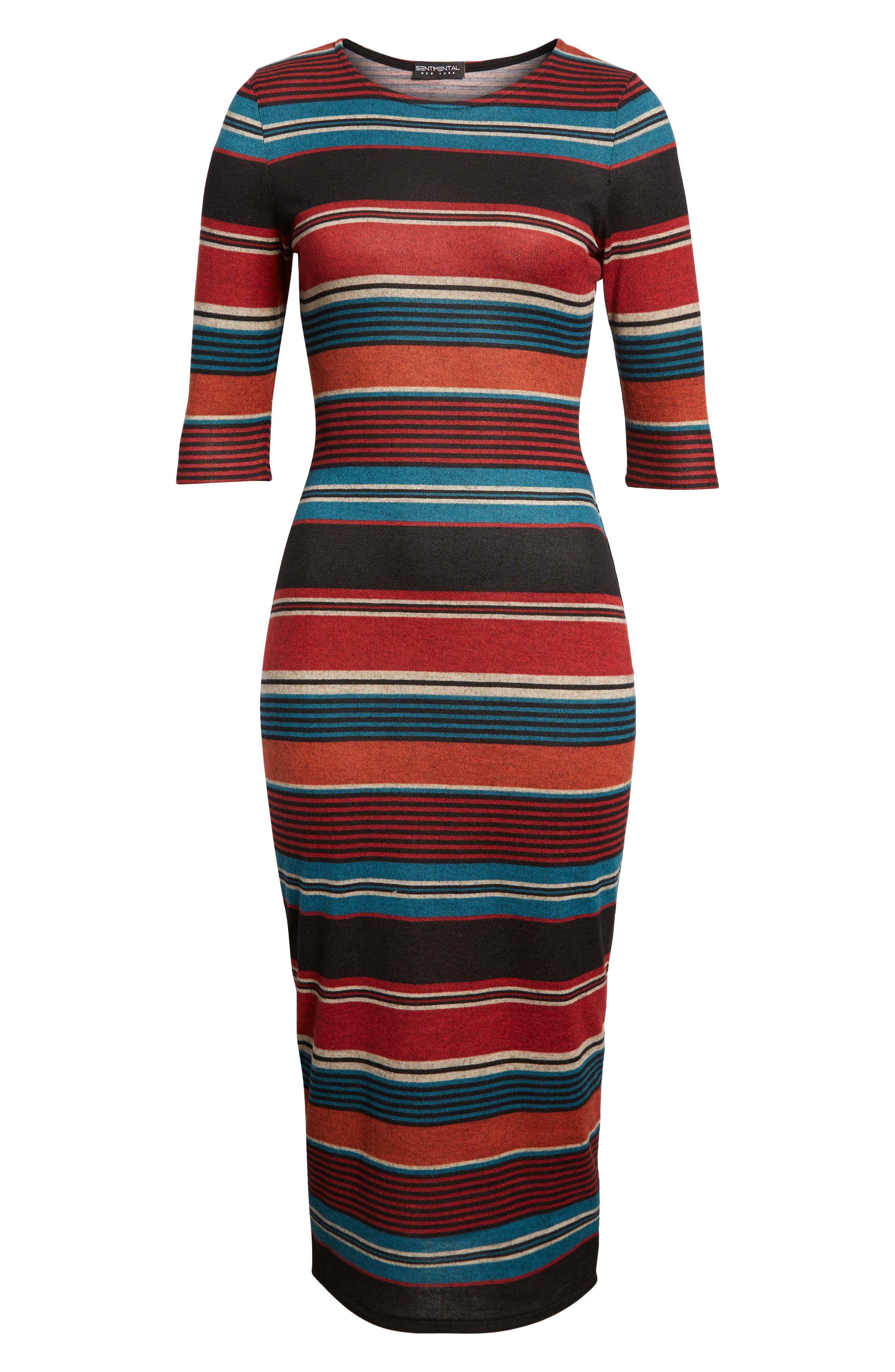 Knit Stripe Midi Dress,                             Alternate thumbnail 7, color,                             TEAL STRIPE
