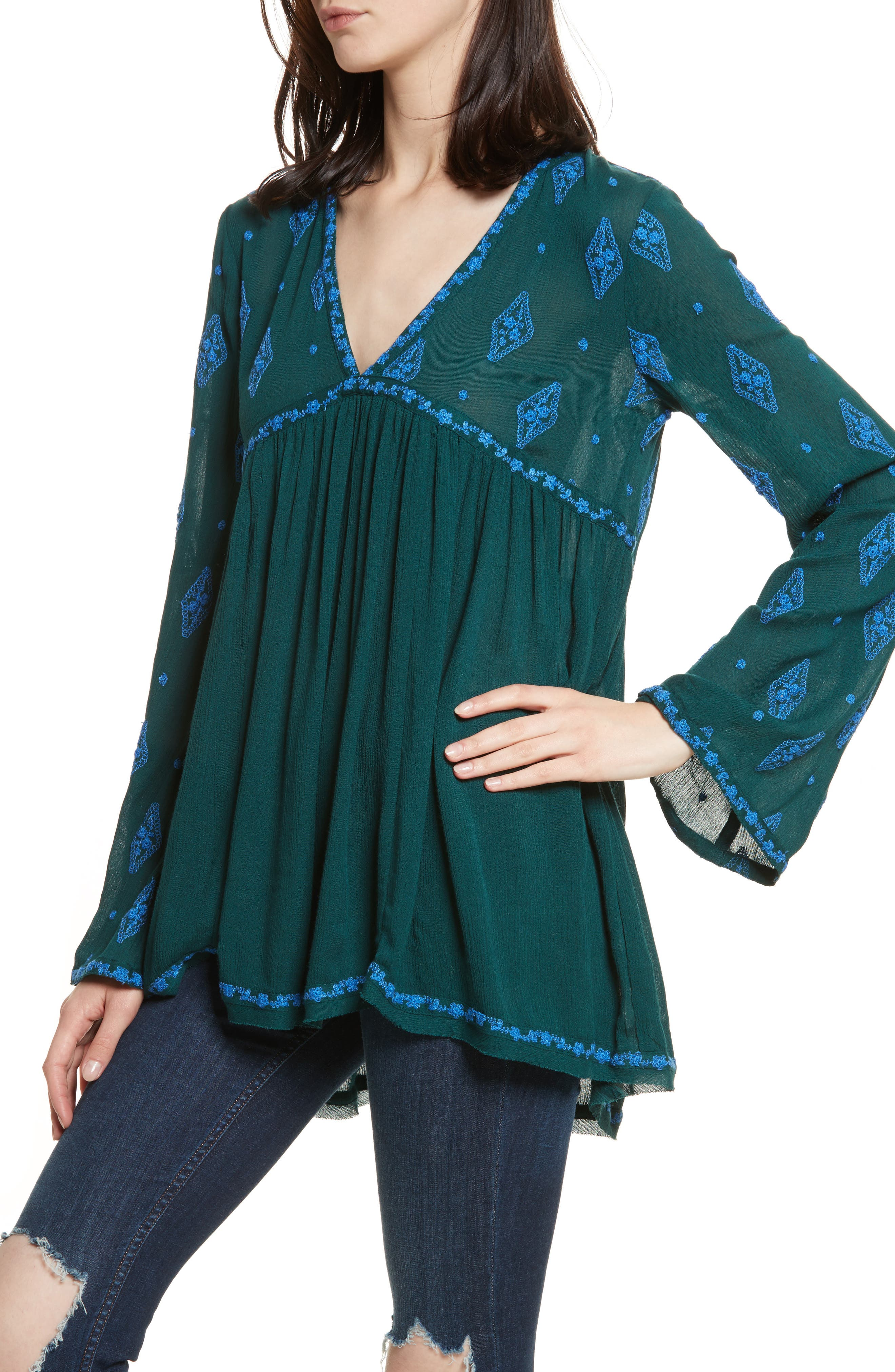Embroidered Bell Sleeve Top,                             Alternate thumbnail 20, color,