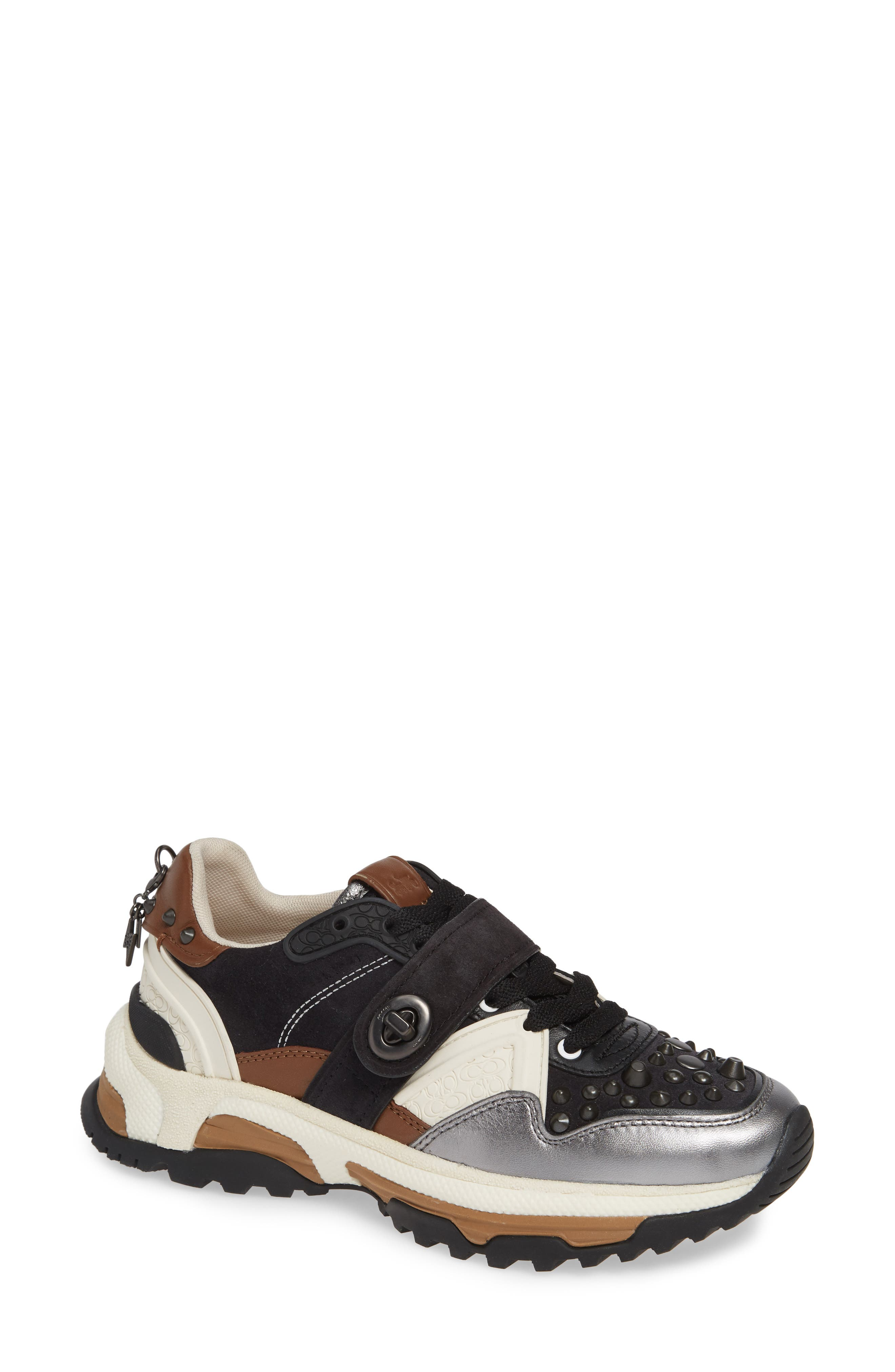 C143 Studded Sneaker, Main, color, BLACK/ GUNMETAL LEATHER