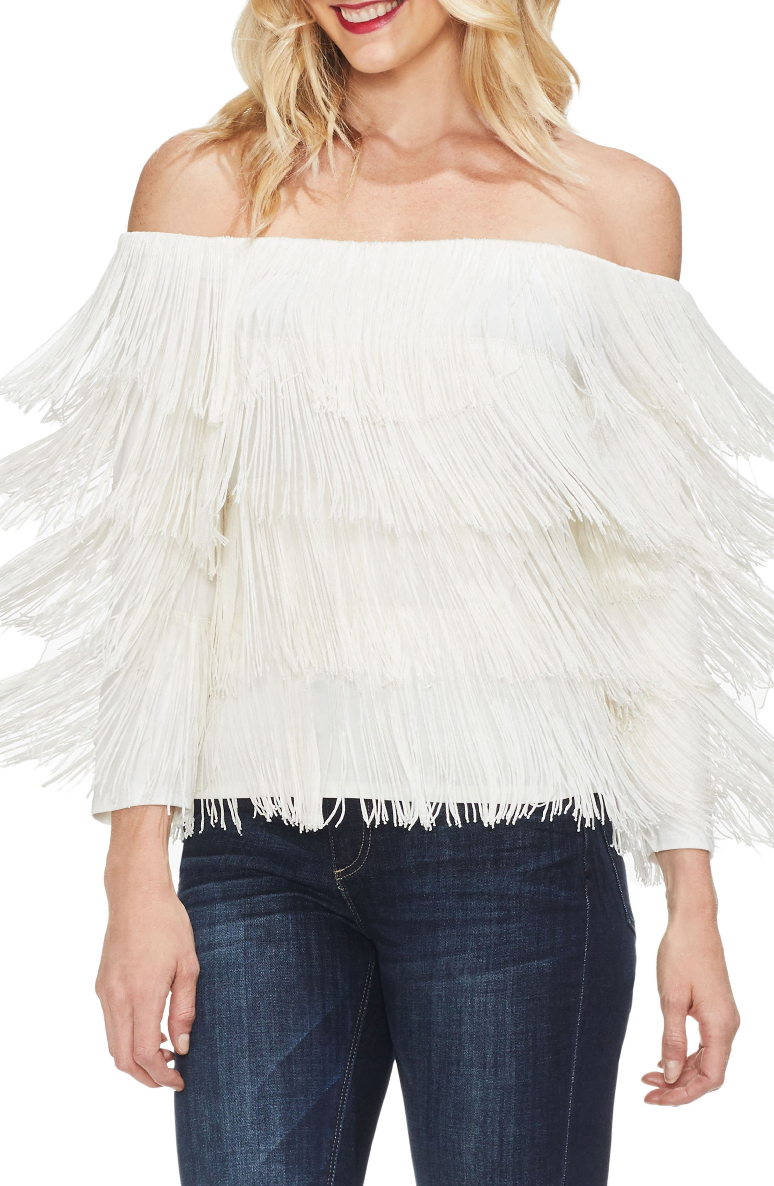 Tiered Fringe Top,                         Main,                         color, PEARL IVORY