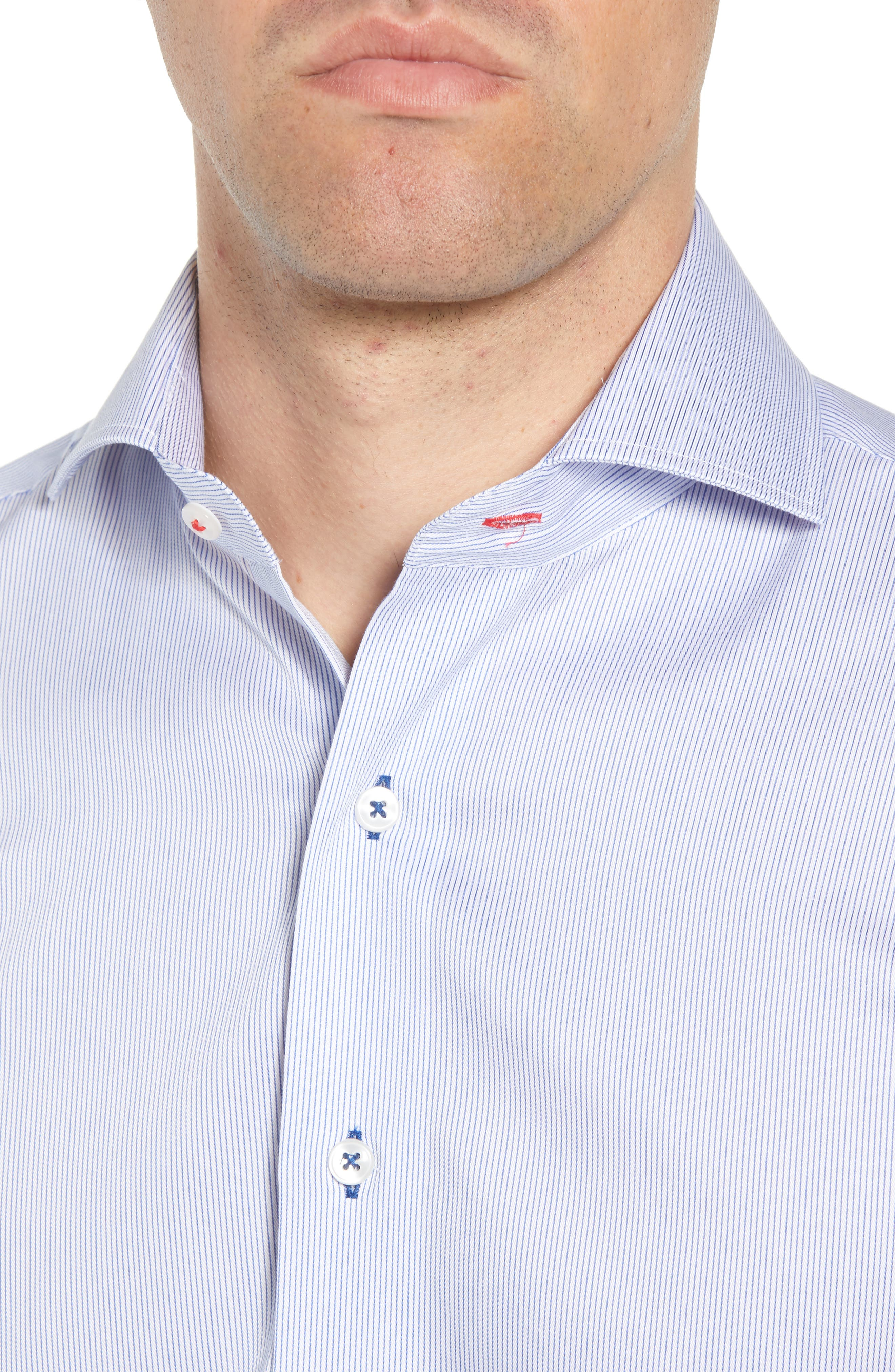 Trim Fit Stripe Dress Shirt,                             Alternate thumbnail 2, color,                             400