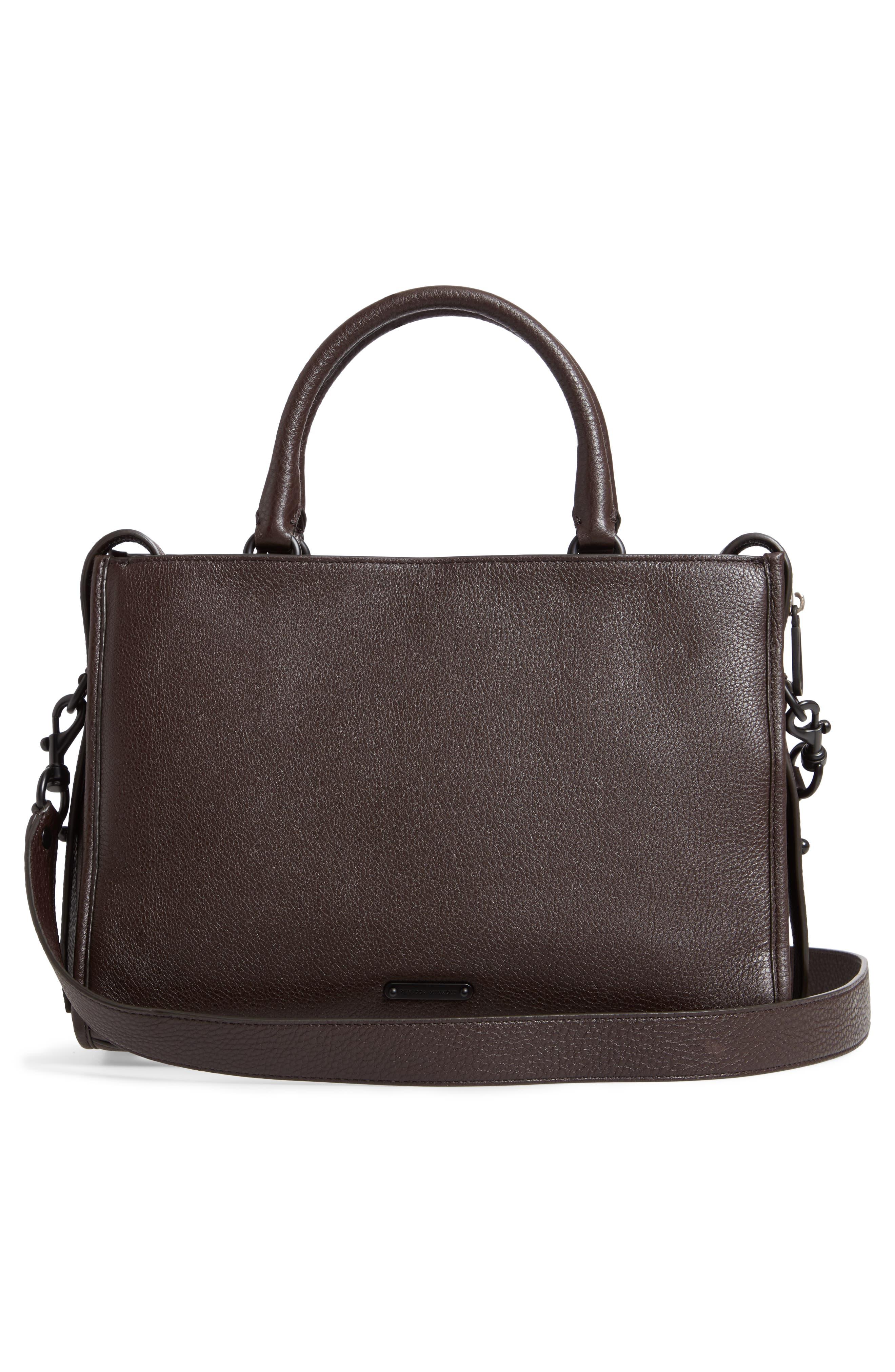 Bedford Zip Leather Satchel,                             Alternate thumbnail 3, color,                             GANACHE