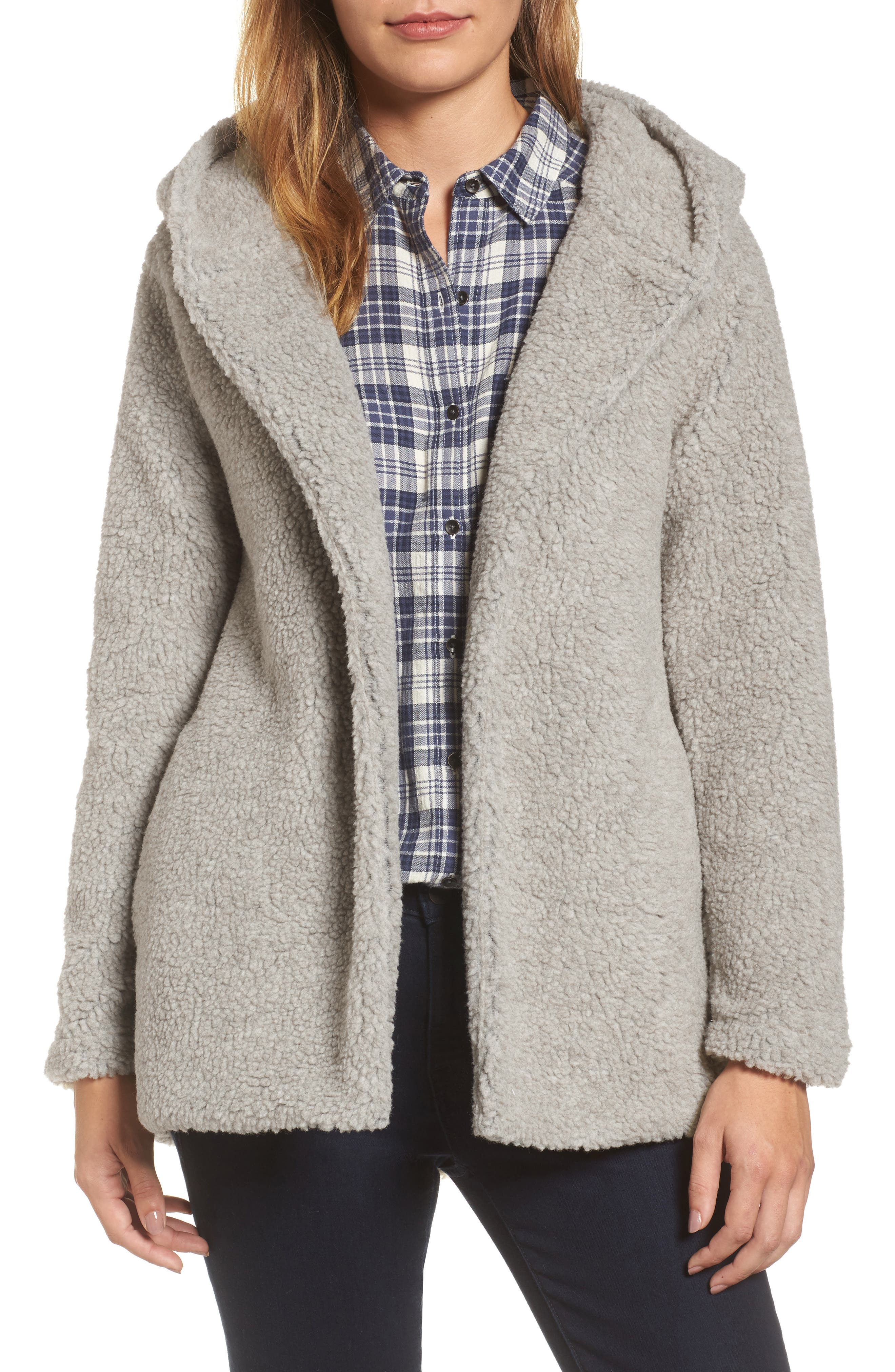 Hooded Faux Fur Jacket,                         Main,                         color,