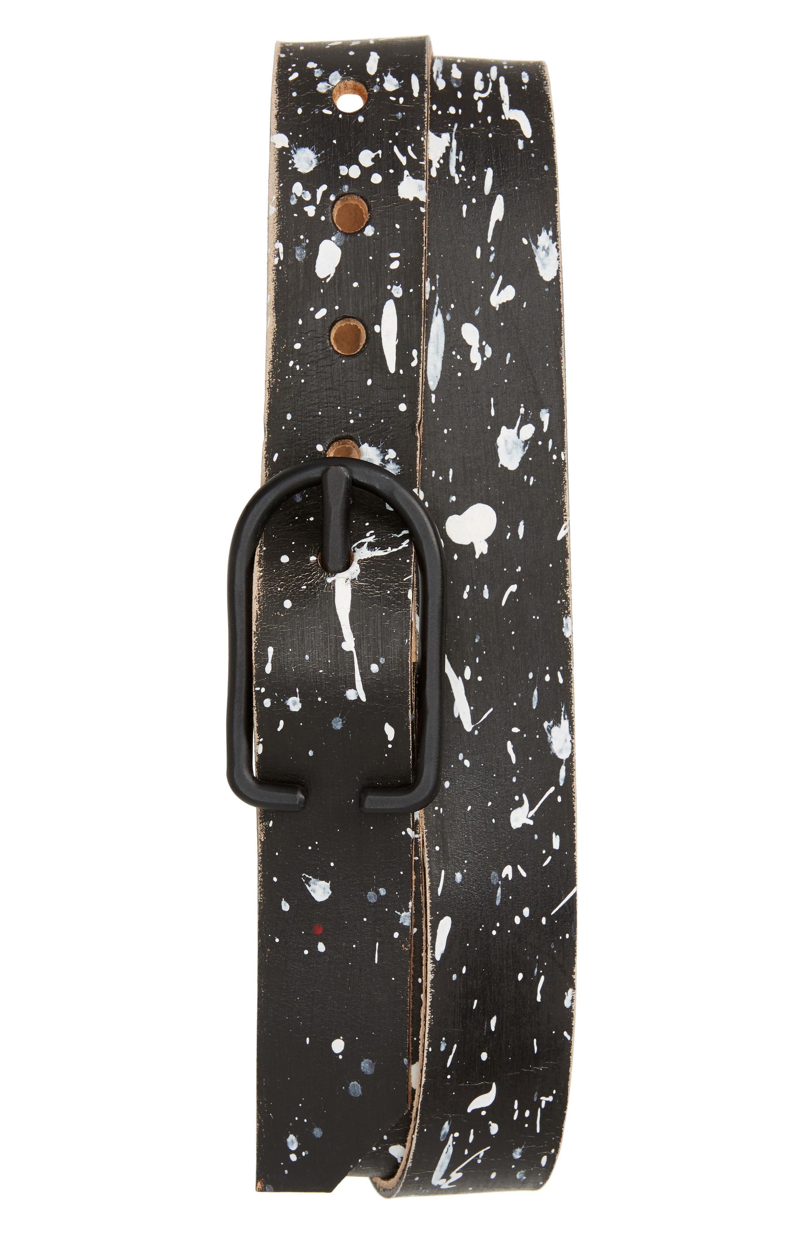 CAUSE & EFFECT,                             Paint Splatter Leather Belt,                             Main thumbnail 1, color,                             001
