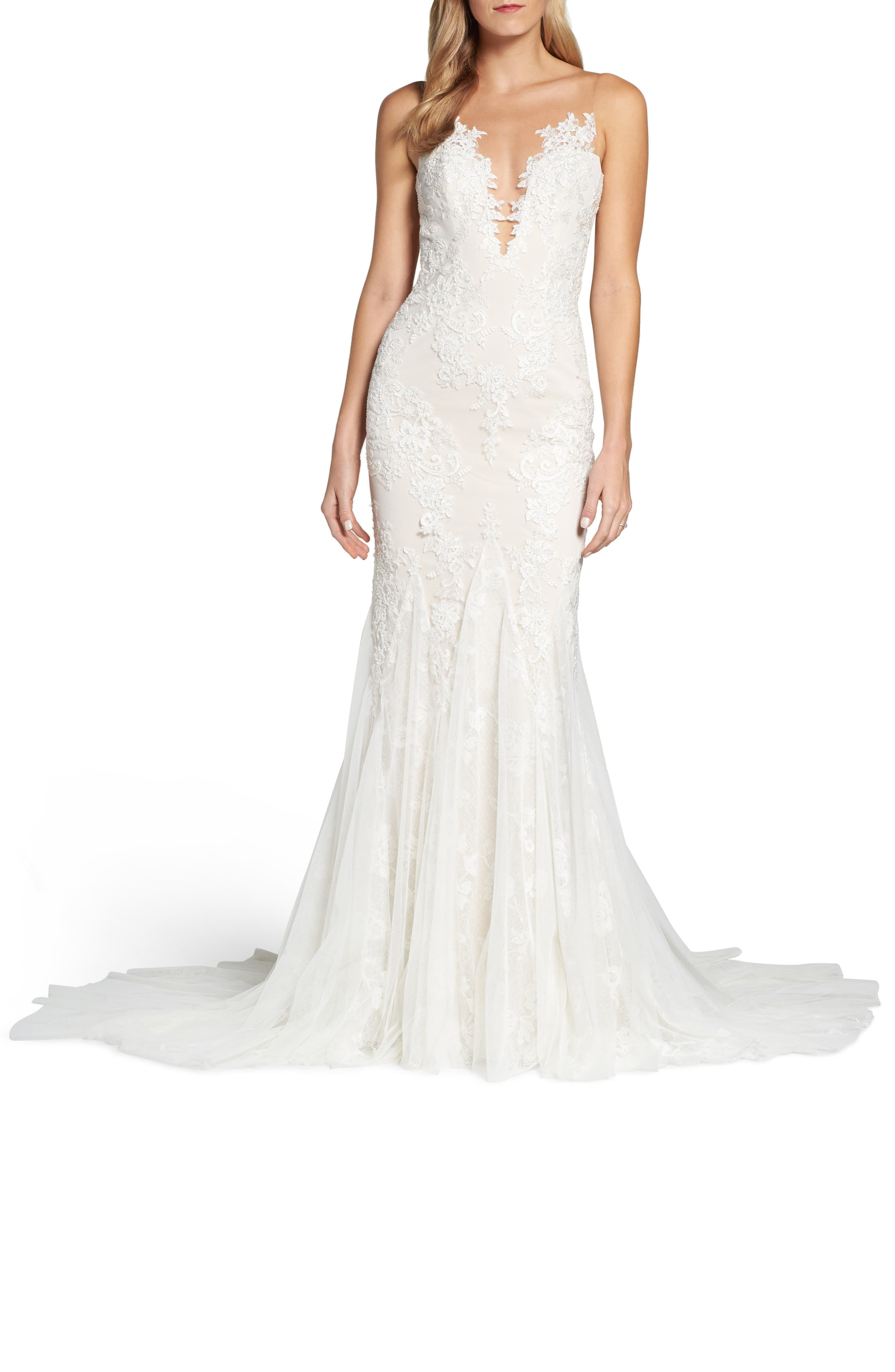 Daisy Illusion V-Neck Gown,                             Alternate thumbnail 5, color,                             OFF WHITE/ SOFT NUDE