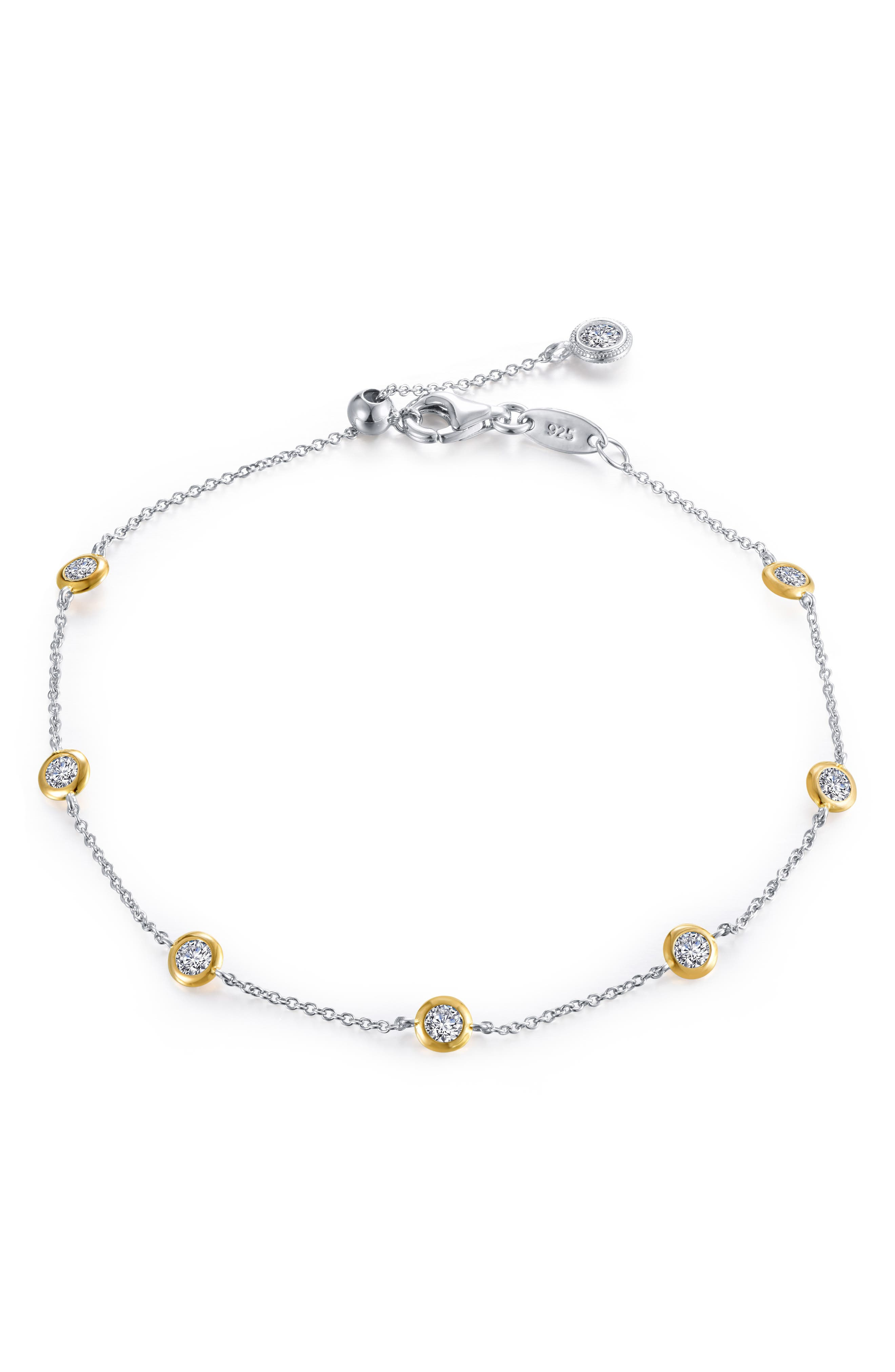 LAFONN Symbols of Joy Simulated Diamond Bracelet, Main, color, SILVER/ GOLD/ CLEAR