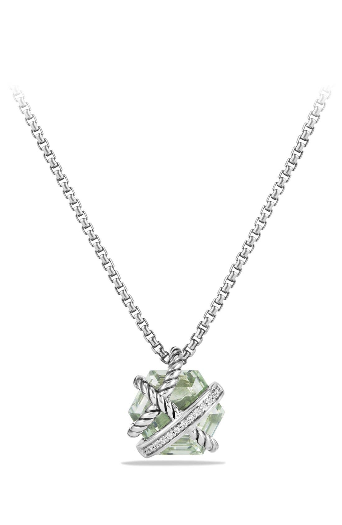 'Cable Wrap' Pendant Necklace with Diamonds,                             Main thumbnail 1, color,                             PRASIOLITE