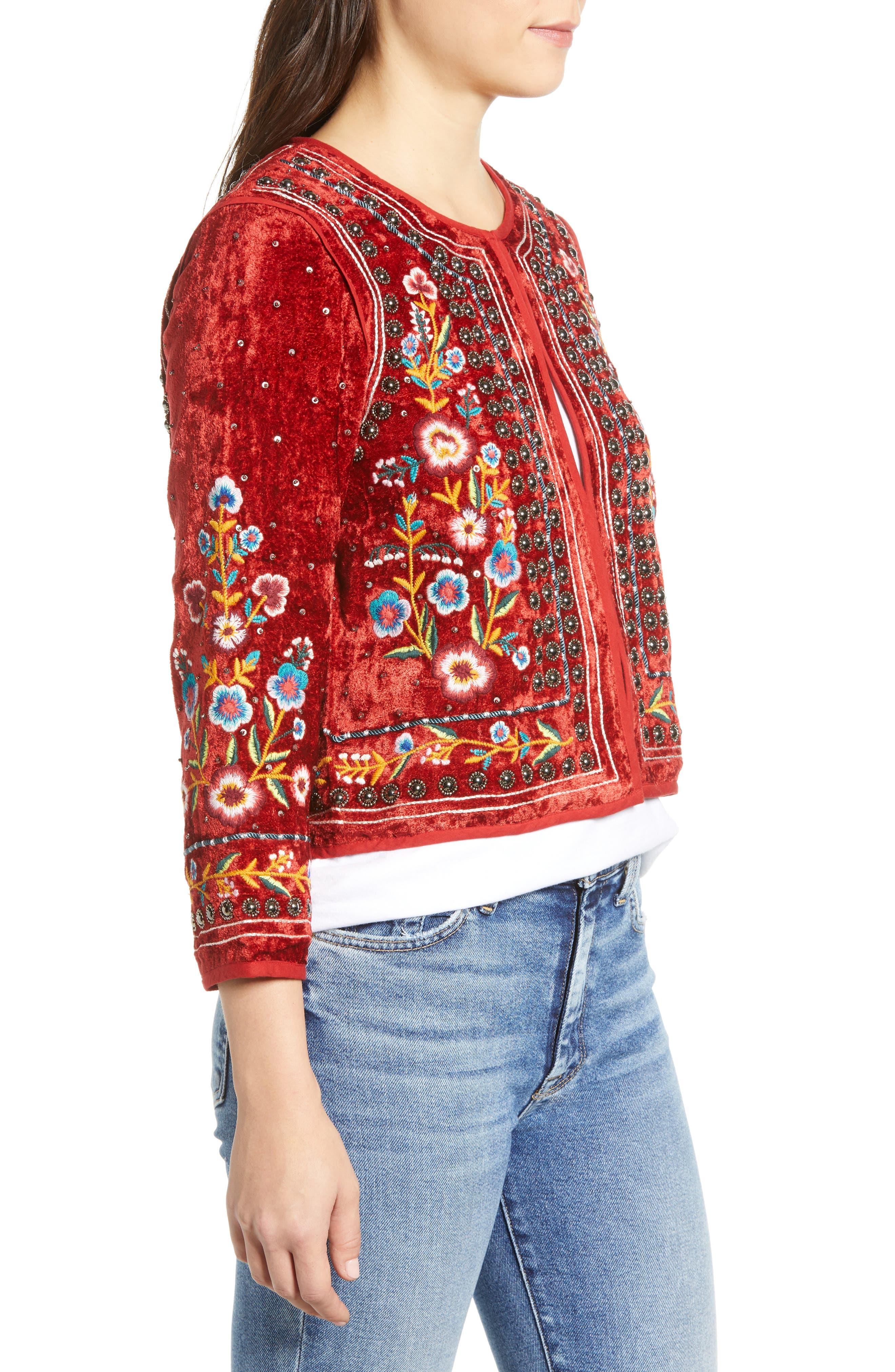 Embroidered Velvet Jacket,                             Alternate thumbnail 3, color,                             RED