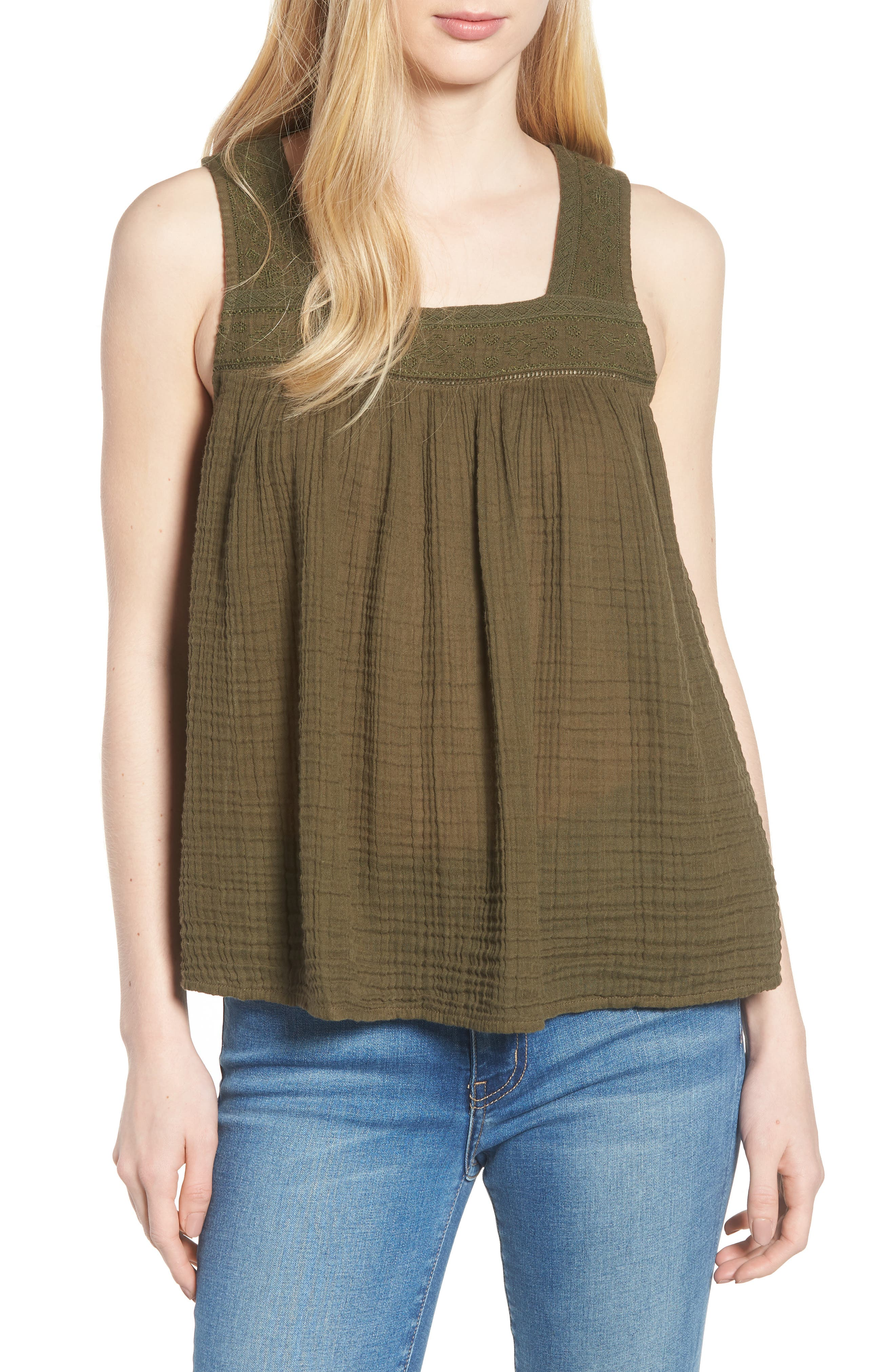 Embroidered Neck Swing Tank,                             Main thumbnail 4, color,