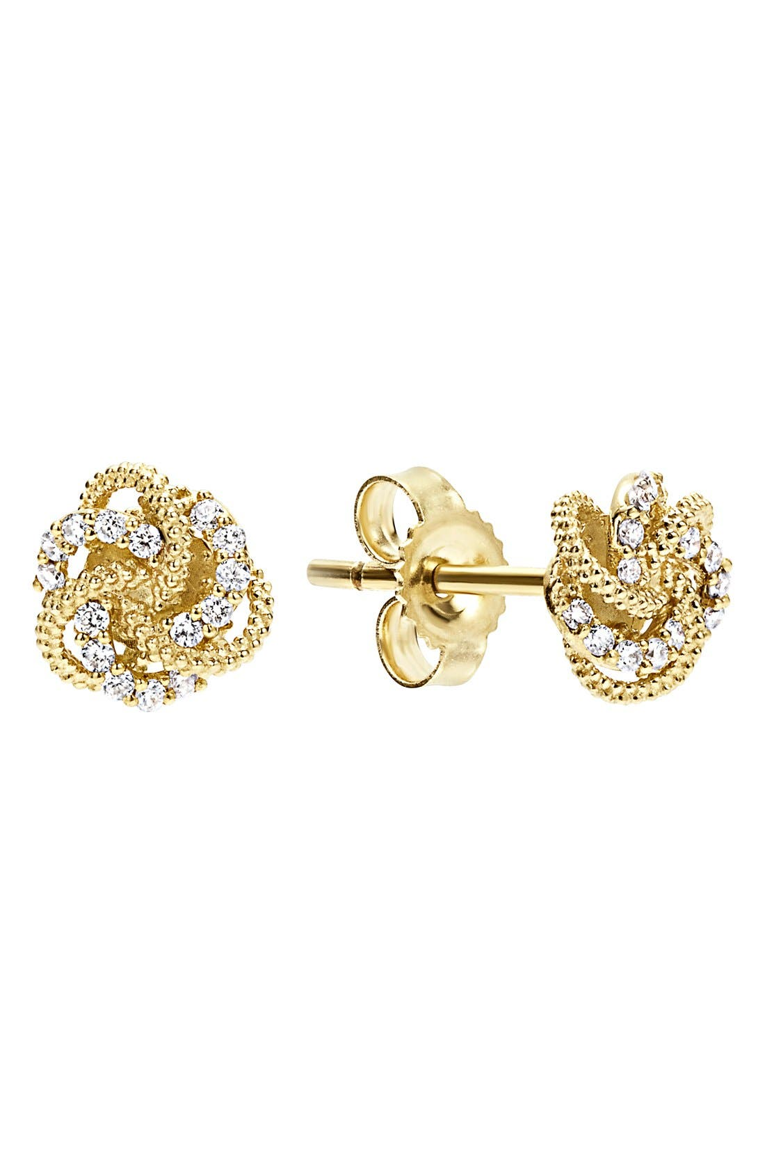 'Love Knot' Stud Earrings,                             Main thumbnail 1, color,                             GOLD