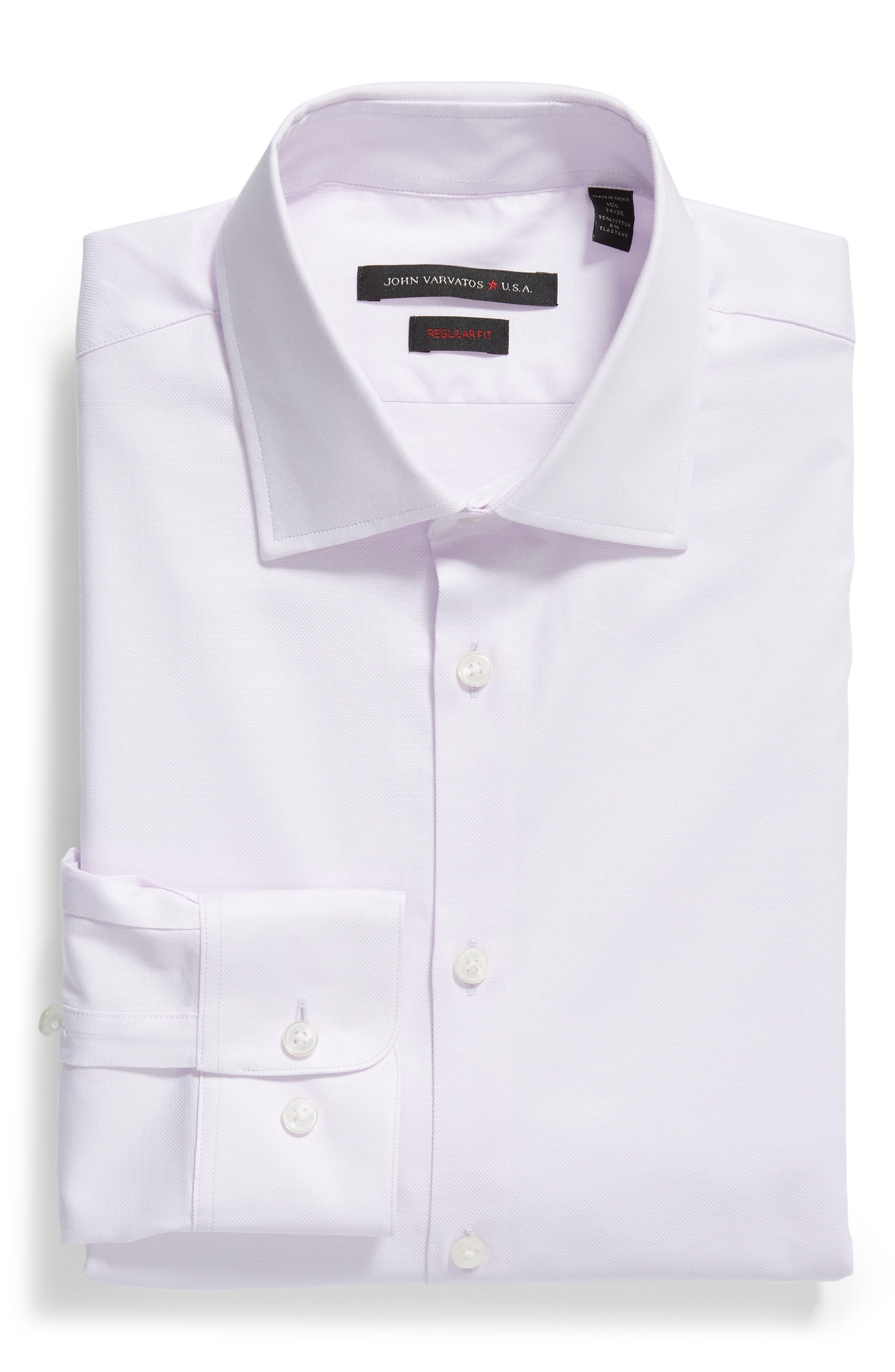 Stripe Regular Fit Dress Shirt,                             Alternate thumbnail 5, color,                             GRAPE
