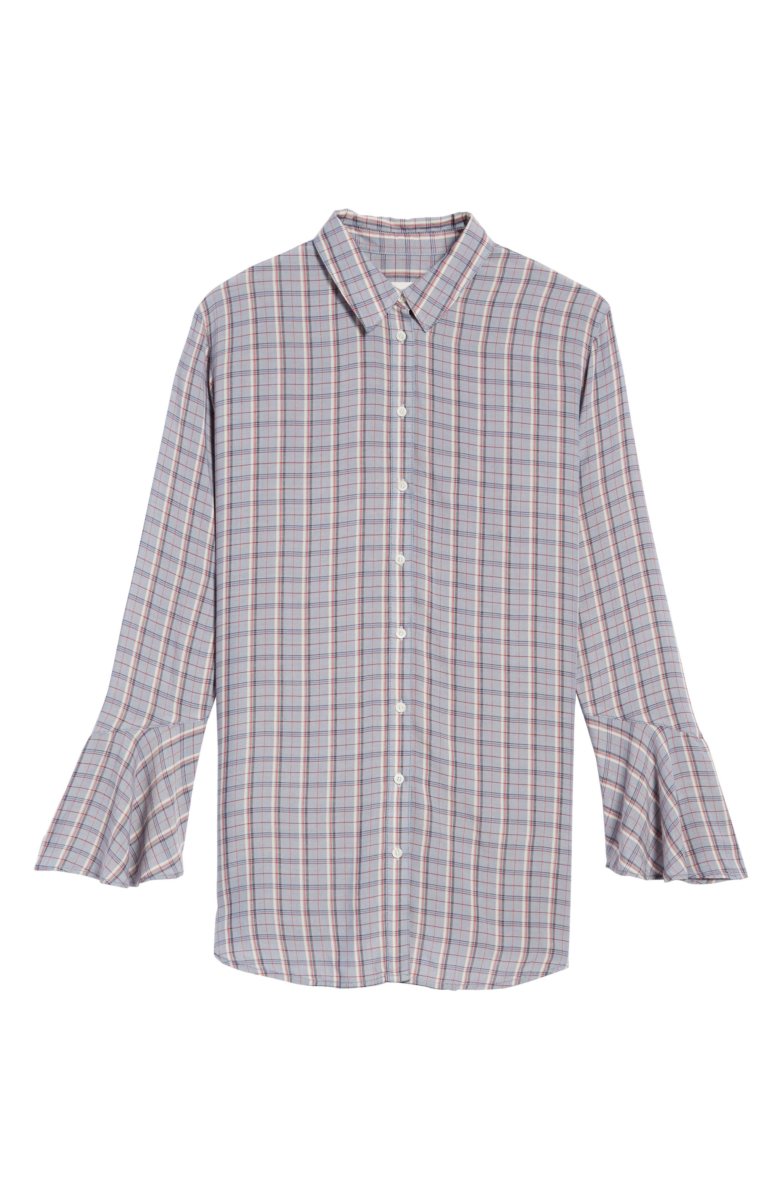Plaid Drapey Shirt,                             Alternate thumbnail 6, color,                             400